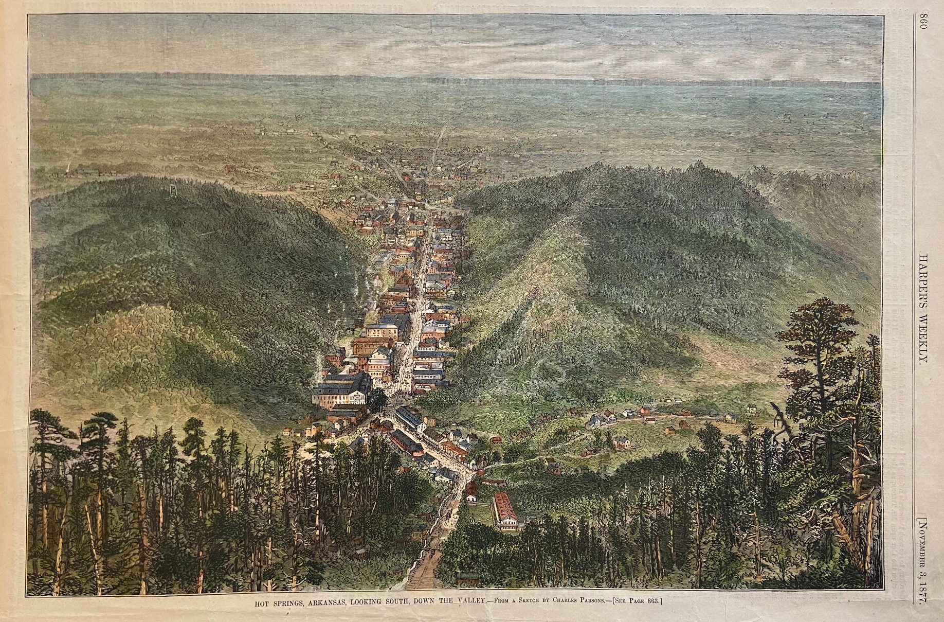 Hot Springs, Arkansas, Looking South, Down the: HARPER'S WEEKLY