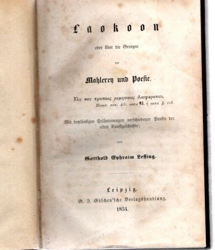 Laokoon oder Ueber die Grenzen der Malerei: Lessing, Gotthold Ephraim:
