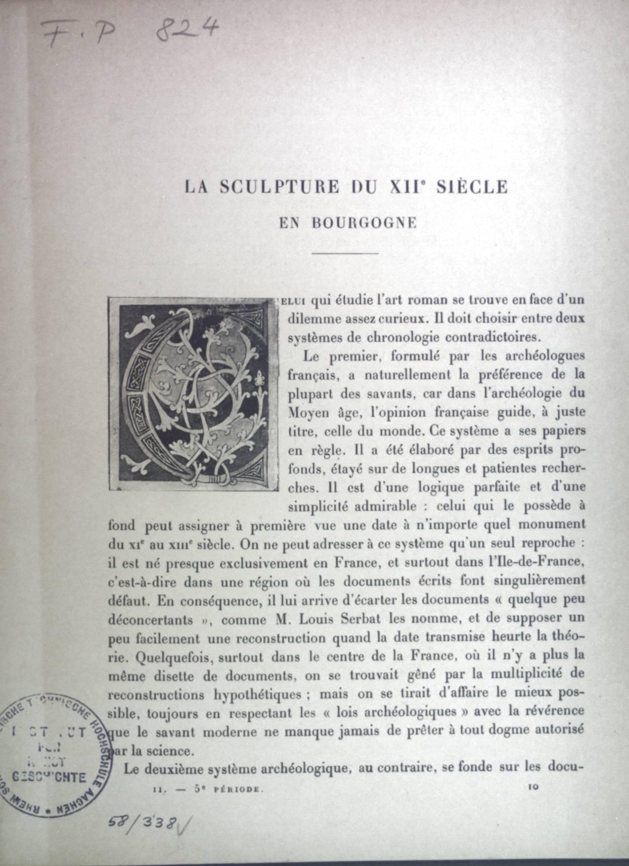 La sculpture du XIIe siecle en Bourgogne.: Porter, A. Kingsley