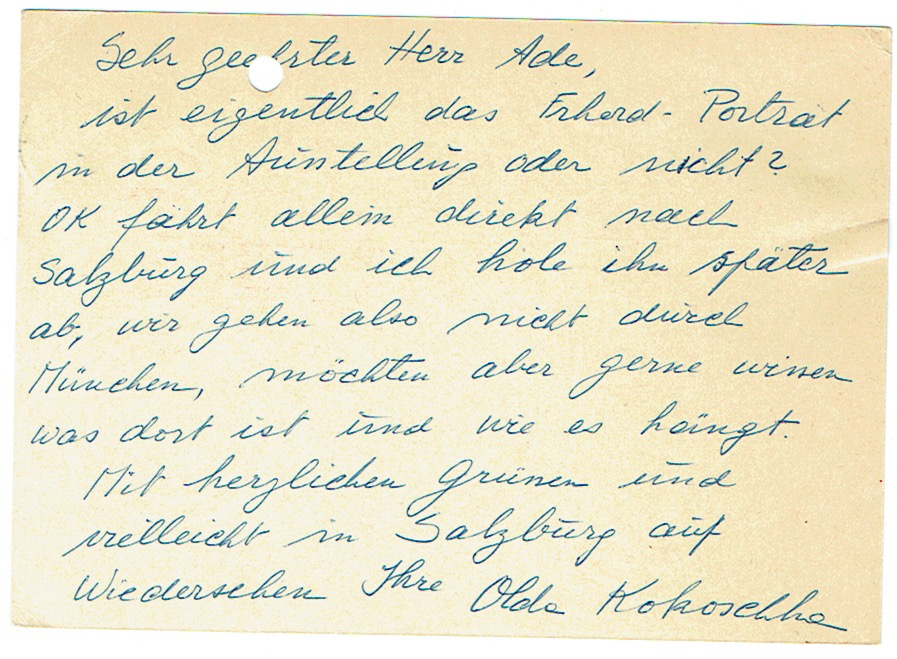 1 eigenh. Brief und 1 eigenh. Postkarte: Kokoschka, Oskar -