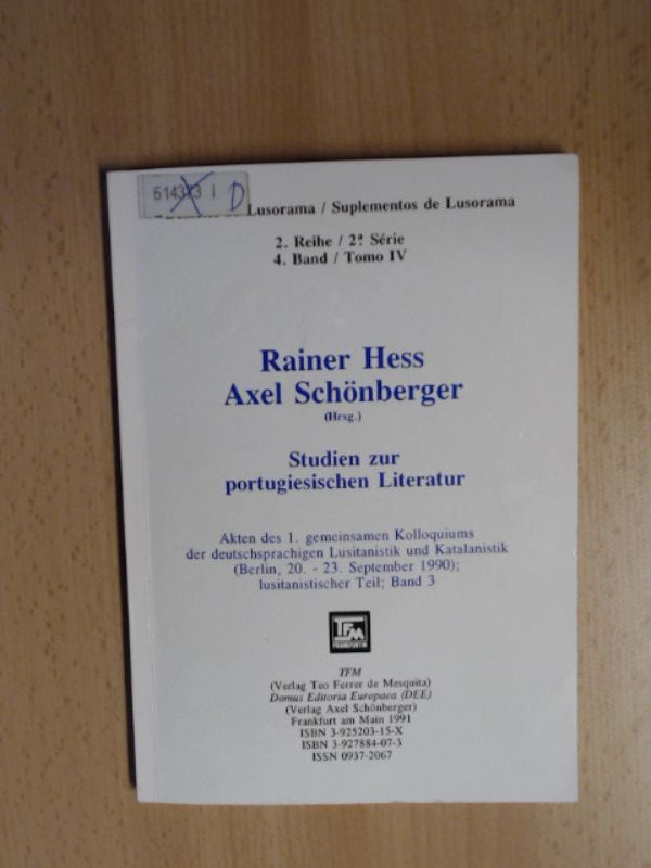 Studien zur portugiesischen Literatur Akten des 1.: Hess, Rainer und