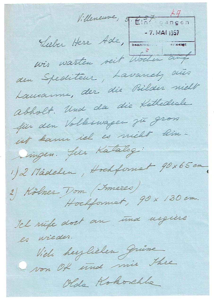 2 eigenh. Briefe und 2 eigenh. Postkarten: Kokoschka, Oskar -