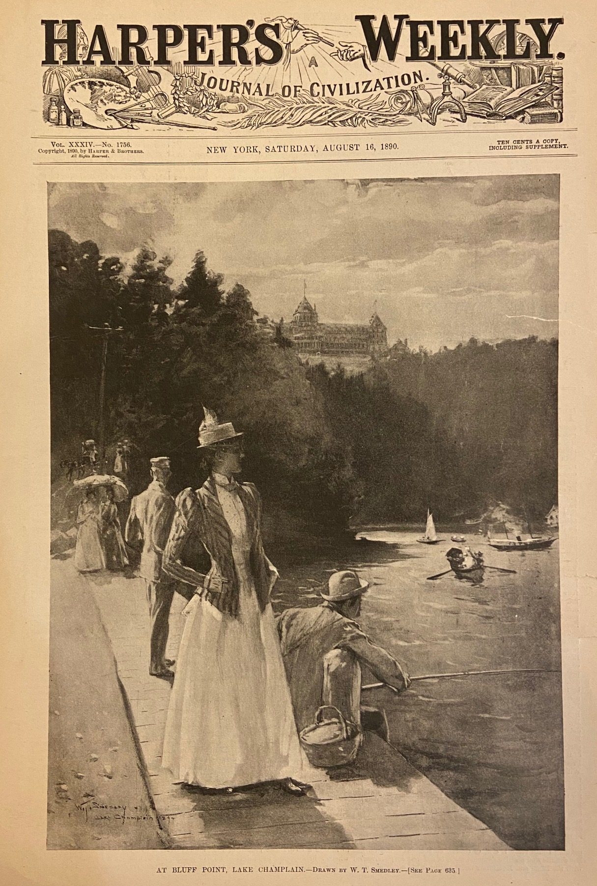 At Bluff Point, Lake Champlain: HARPER'S WEEKLY