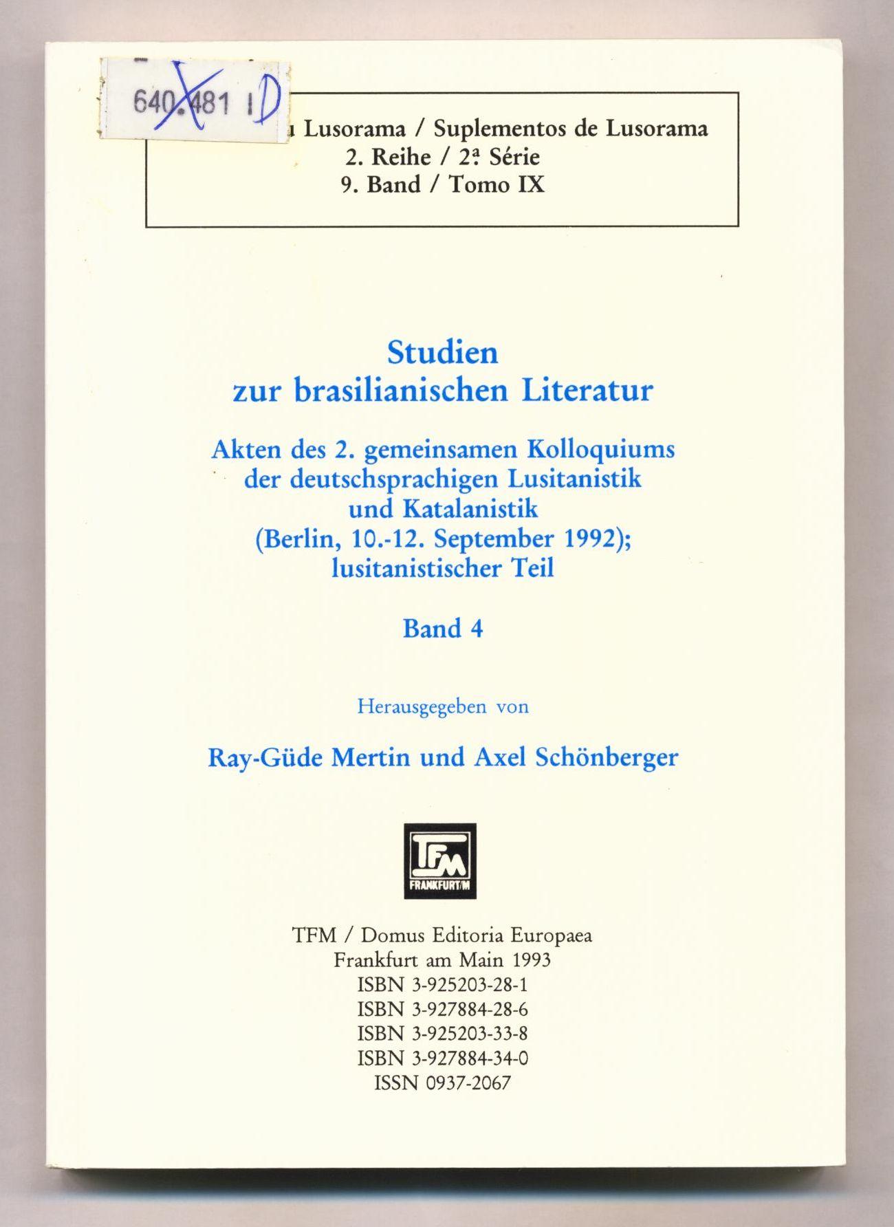 Studien zur brasilianischen Literatur Akten des 2.: Mertin, Ray-Güde und