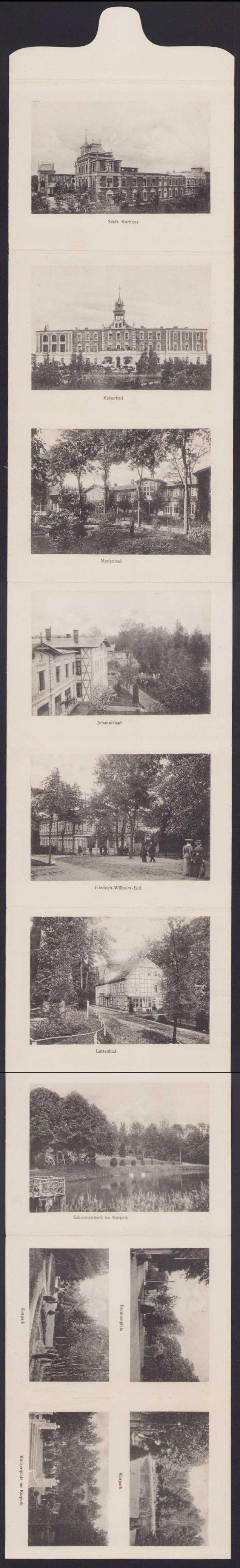 Leporello-Ansichtskarte Bad Polzin, Städtisches Kurhaus, Johannisbad, Marienbad,