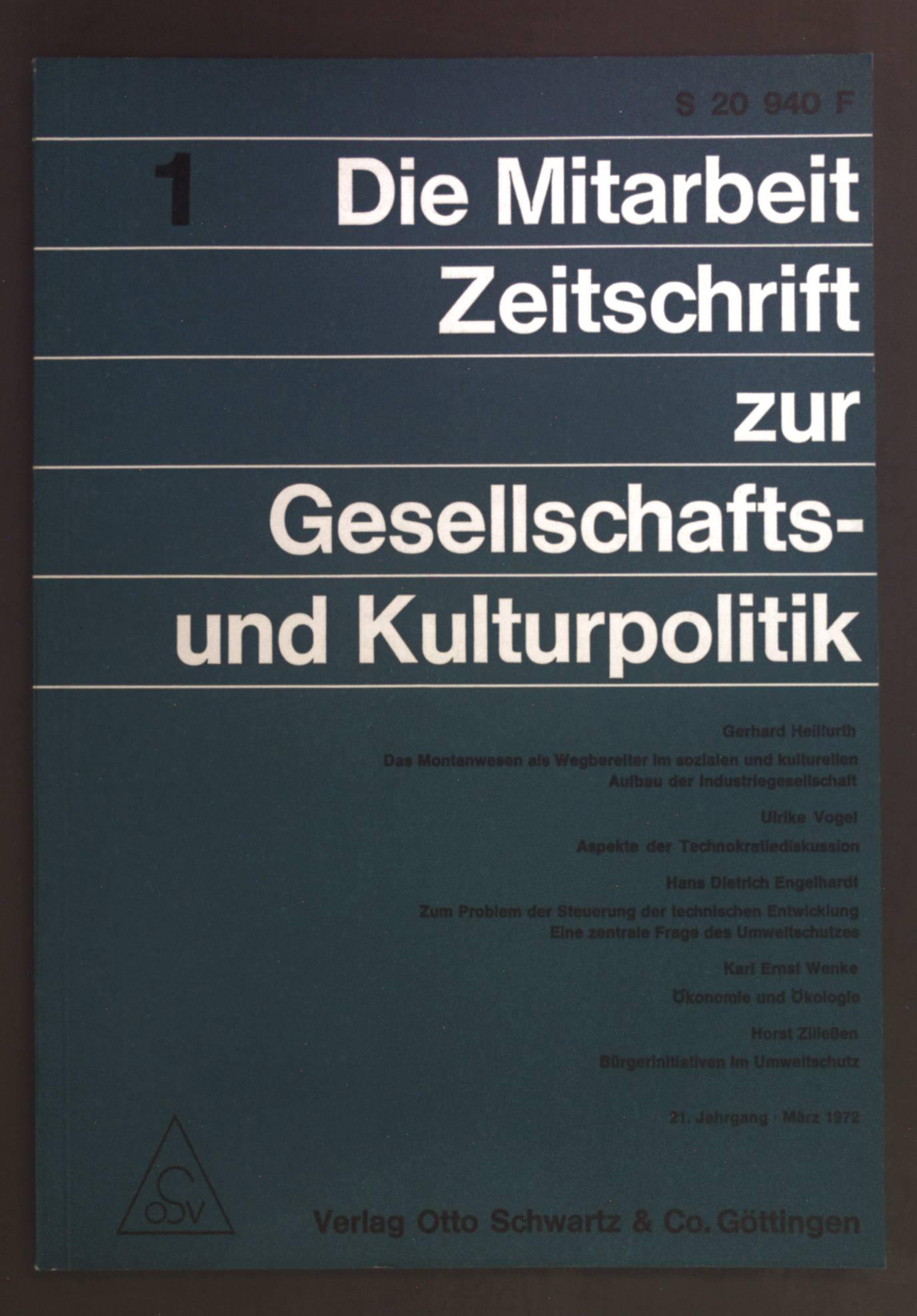 Aspekte der Technokratiediskussion. - in: Die Mitarbeit.: Vogel, Ulrike: