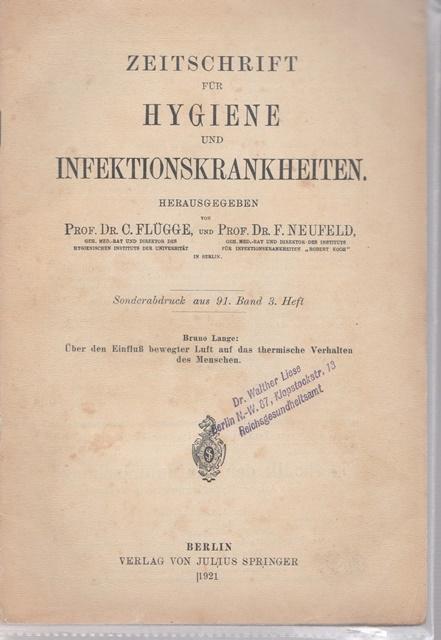 Zeitschrift für Hygiene und Infektionskrankheiten. Sonderabdruck aus: Hrsg. Prof. Dr.
