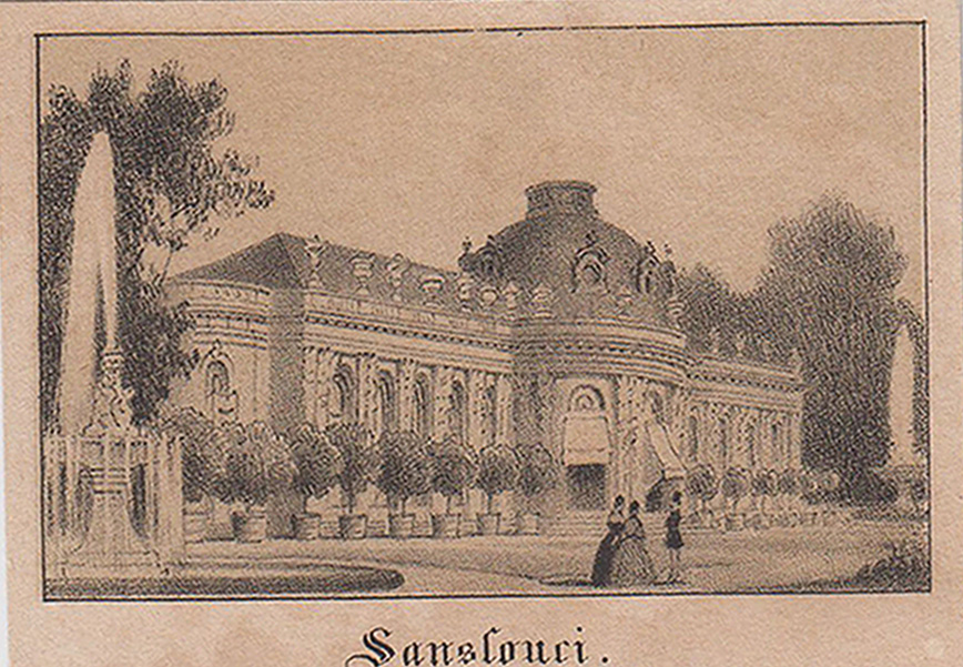 """Südseite von Westen, """"Sanssouci"""".: Potsdam - Schloss"""