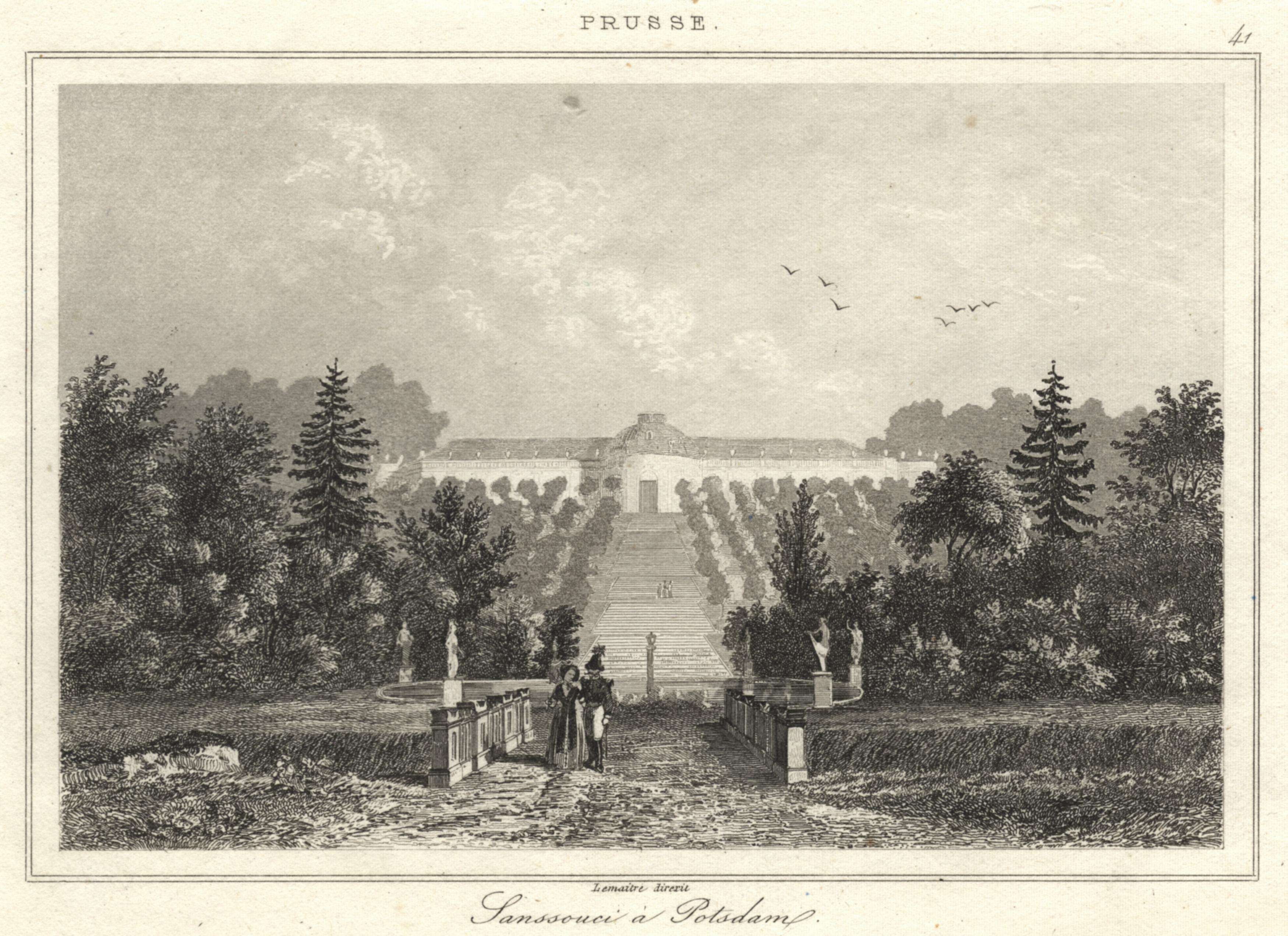 Ansicht mit den Terrassen.: Potsdam - Schloss