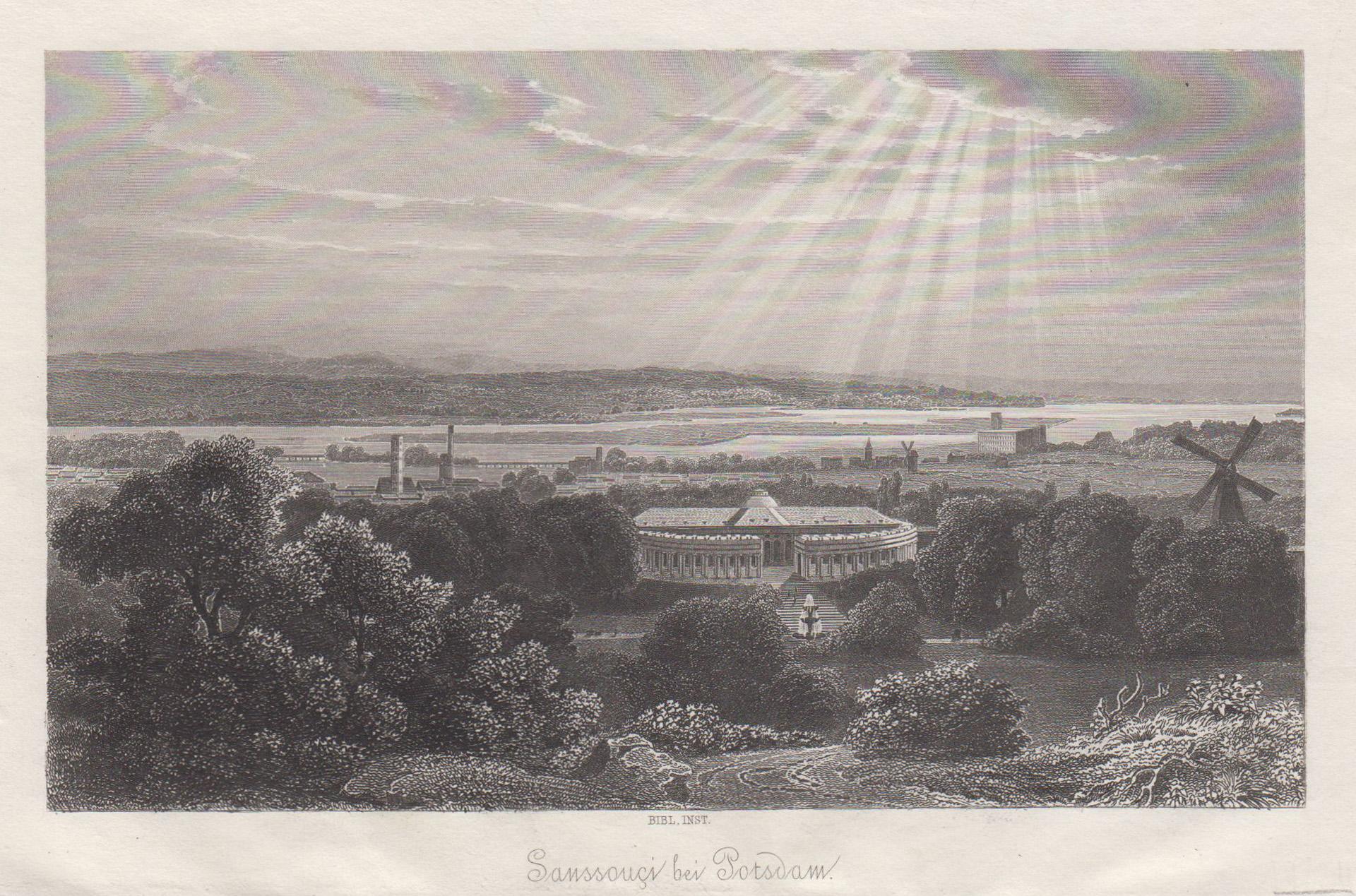 Blick vom Ruinenberg auf das Schloss, i.: Potsdam - Schloss