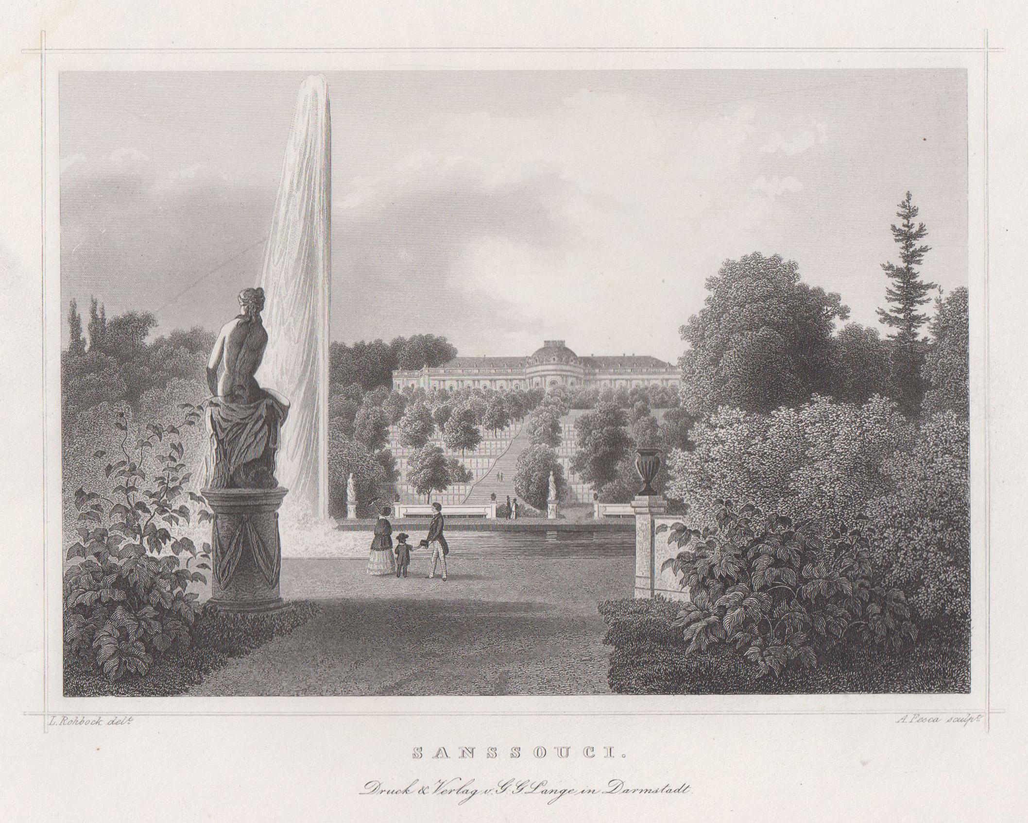 """Ansicht m. d. Terrassen, i. Vgr. """"Große: Potsdam - Schloss"""