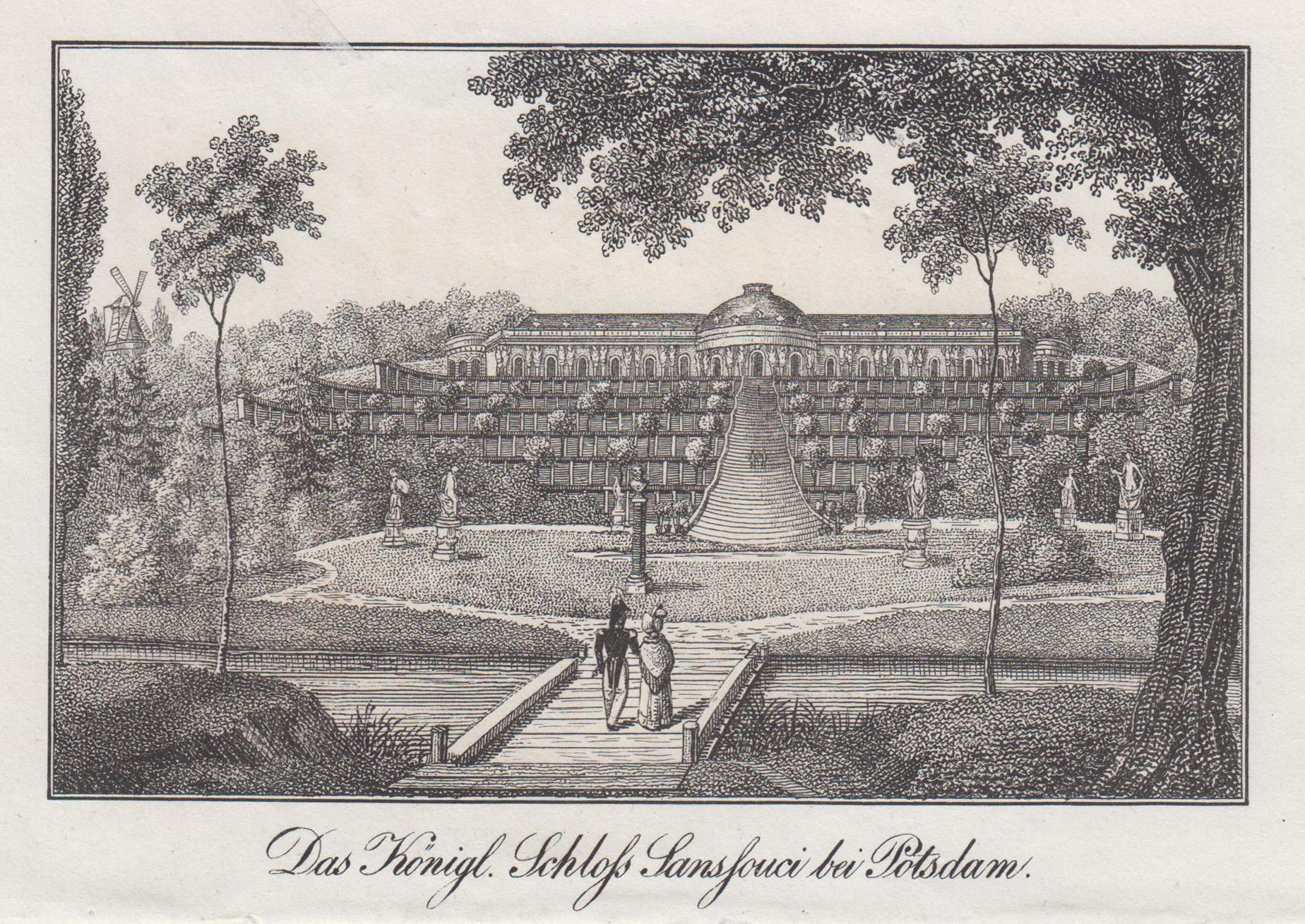 """Ansicht mit den Terrassen, """"Das Königl. Schloss: Potsdam - Schloss"""