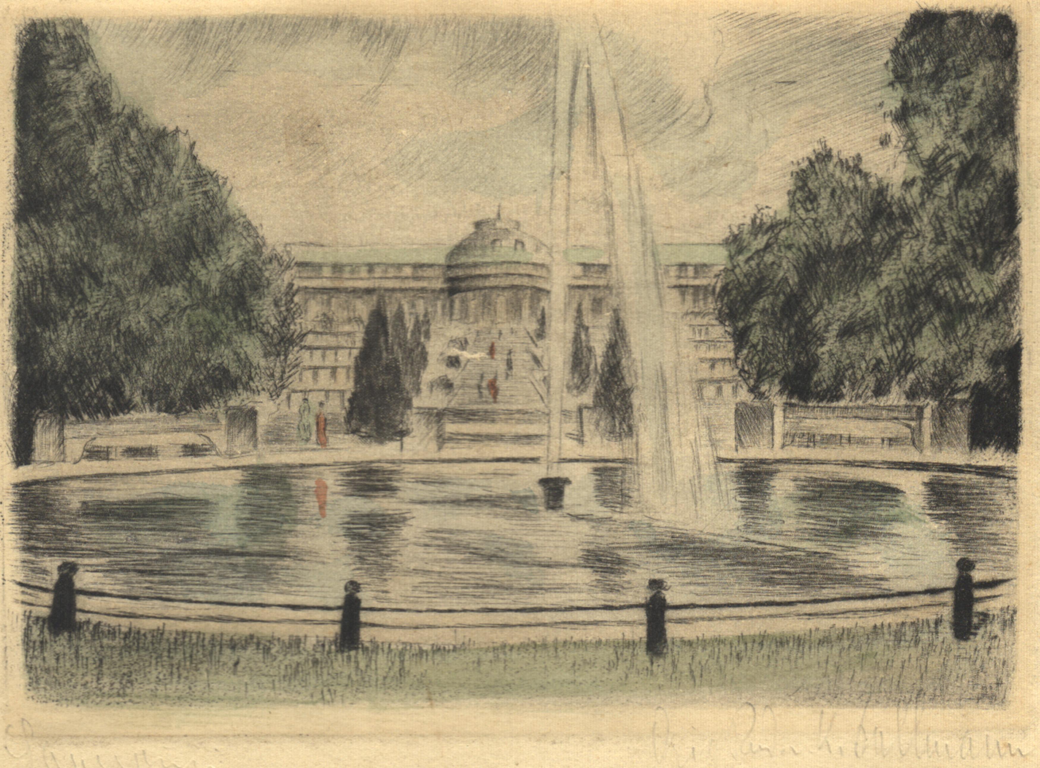 Südseite, i. Vgr. d. Fontaine zu .: Potsdam - Schloss