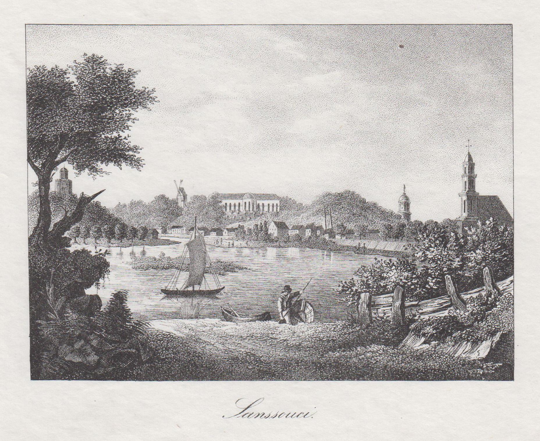 "Fernsicht, rechts die Brandenburger Vorstadt, ""Vue de: Potsdam - Schloss"