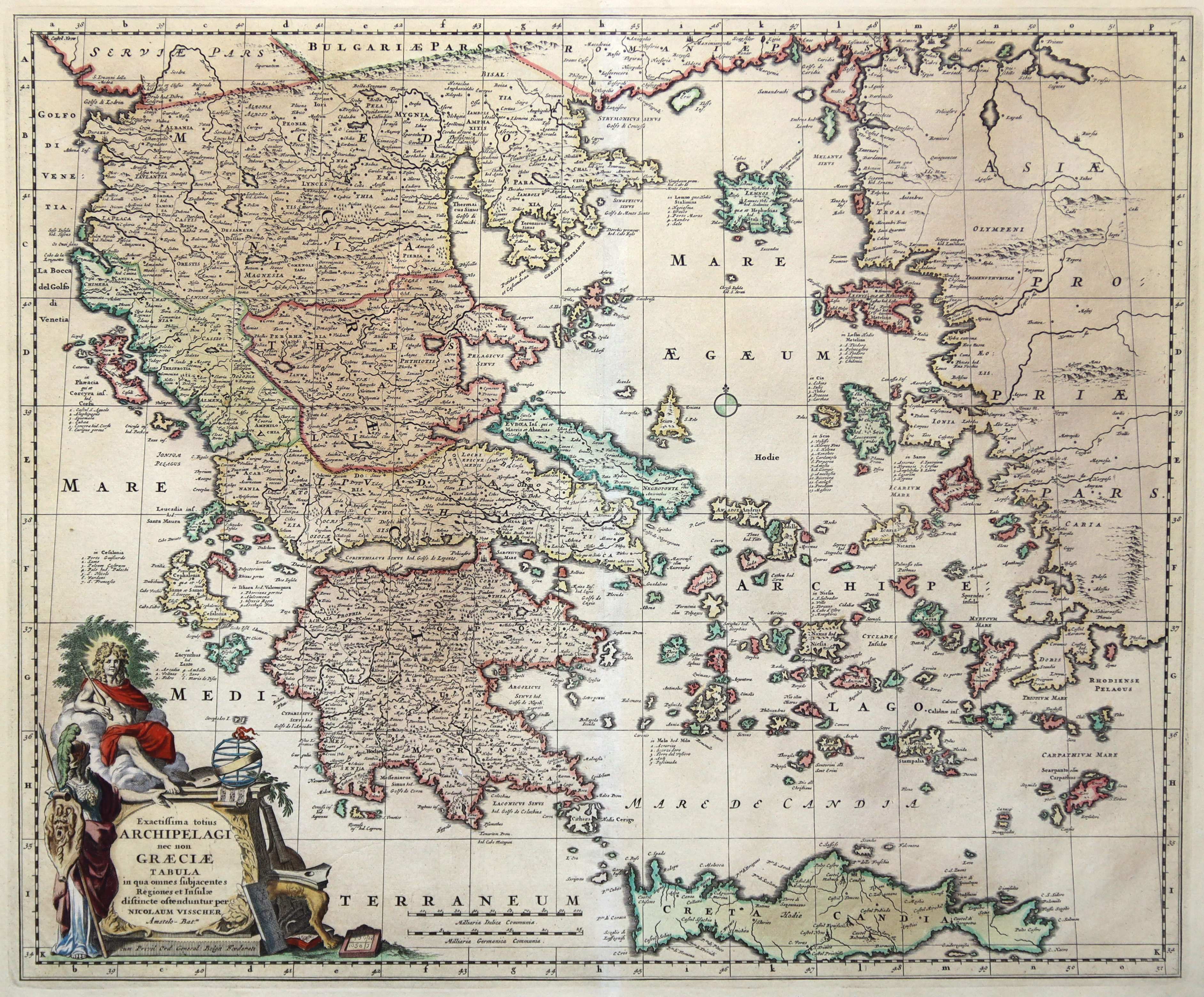 """Kupferstich - Karte, n. Nic. Visscher, """"Exactissima: Griechenland ( Greece"""