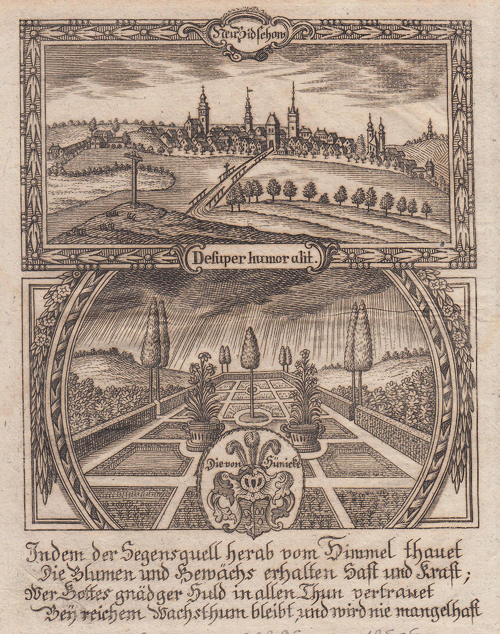 Gesamtans., darunter Allegorie und das Wappen derer: Neubidschow / Novy