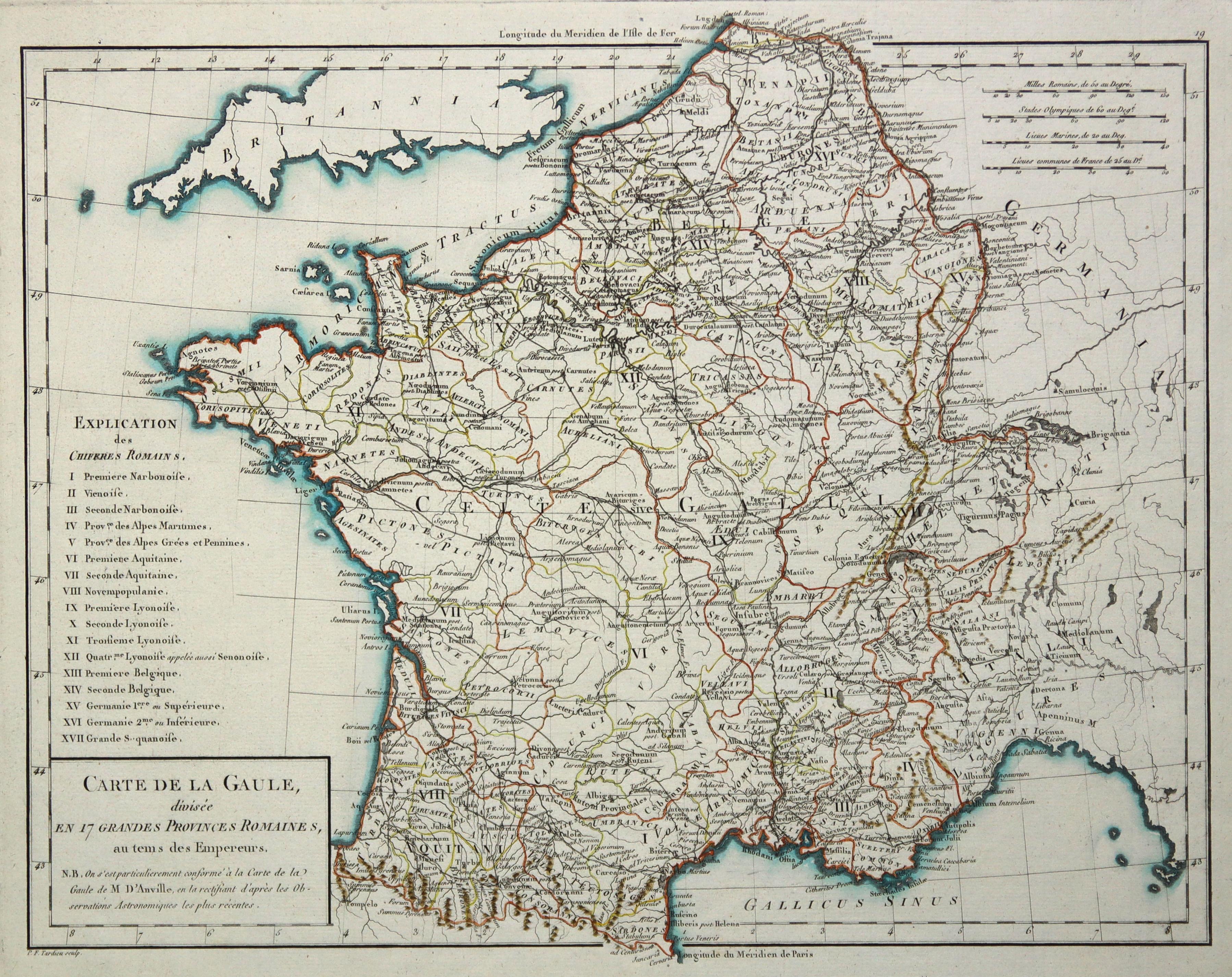 """Kst.- Karte, v. P.F. Tardieu, """"Carte de: Frankreich ( France"""