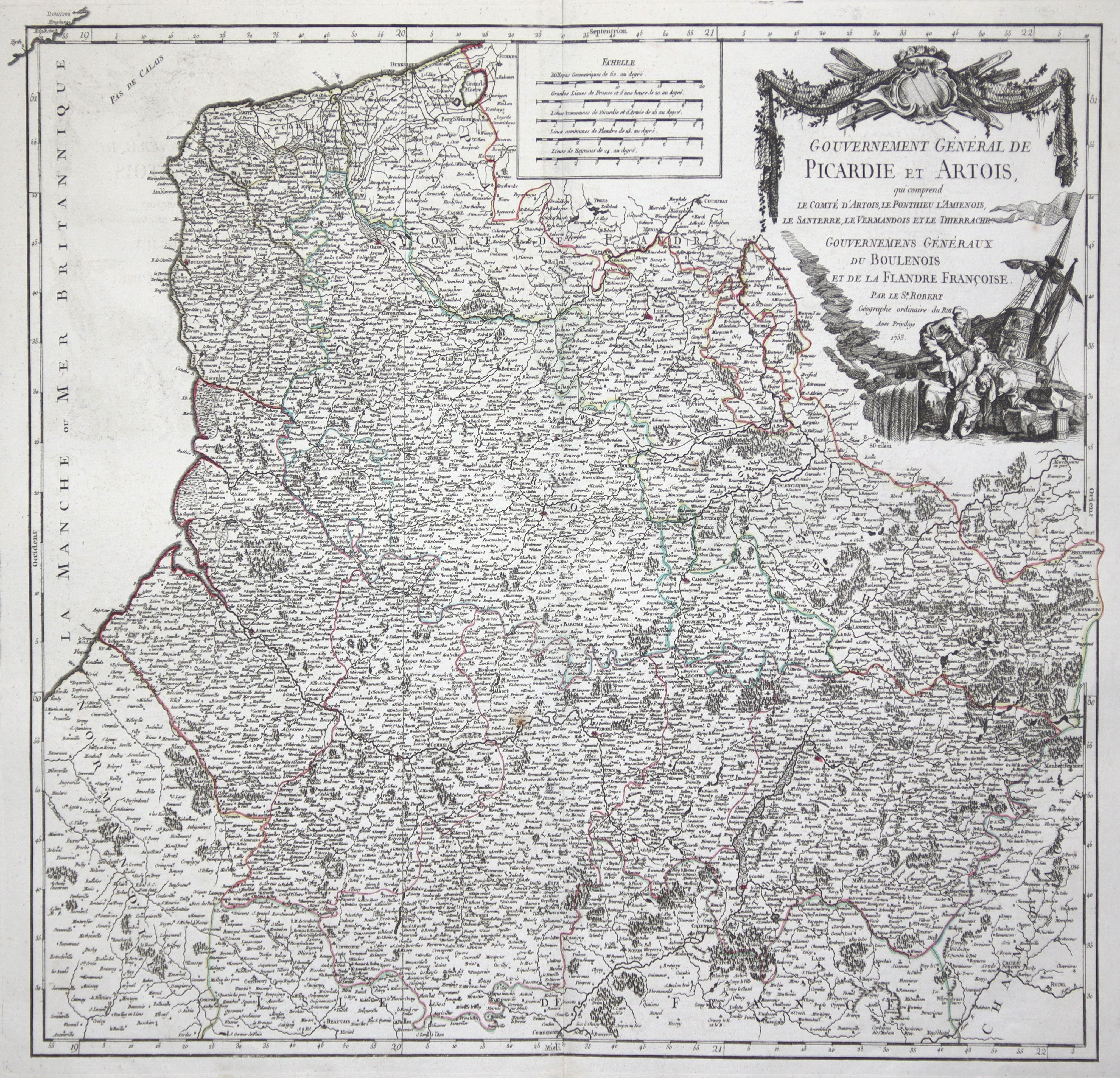 "Kst.- Karte, b. Robert (de Vaugondy), ""Gouvernement: Artois und Picardie:"