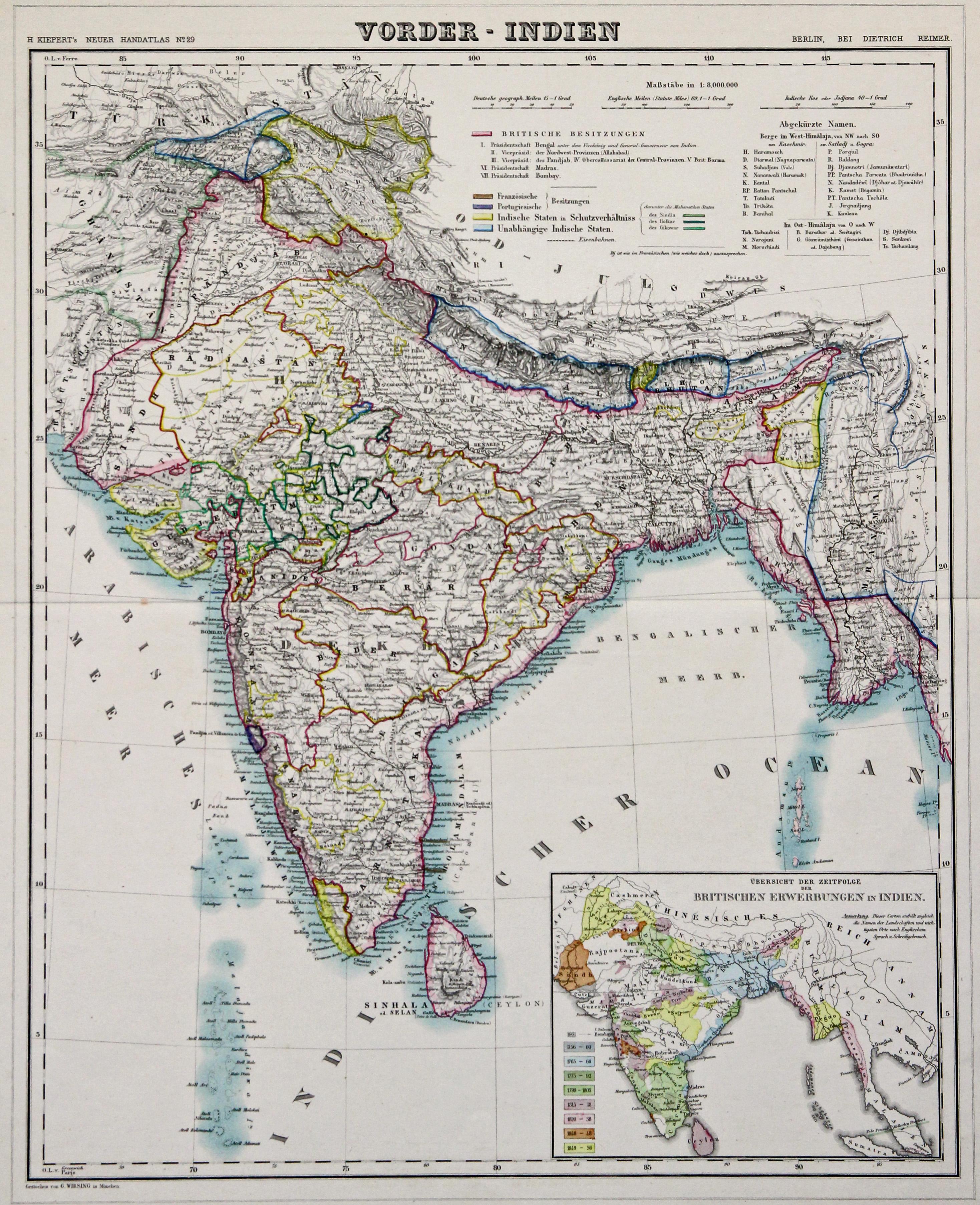 Litho.- Karte, v. Wirsing b. Dietrich Reimer,: Indien ( India
