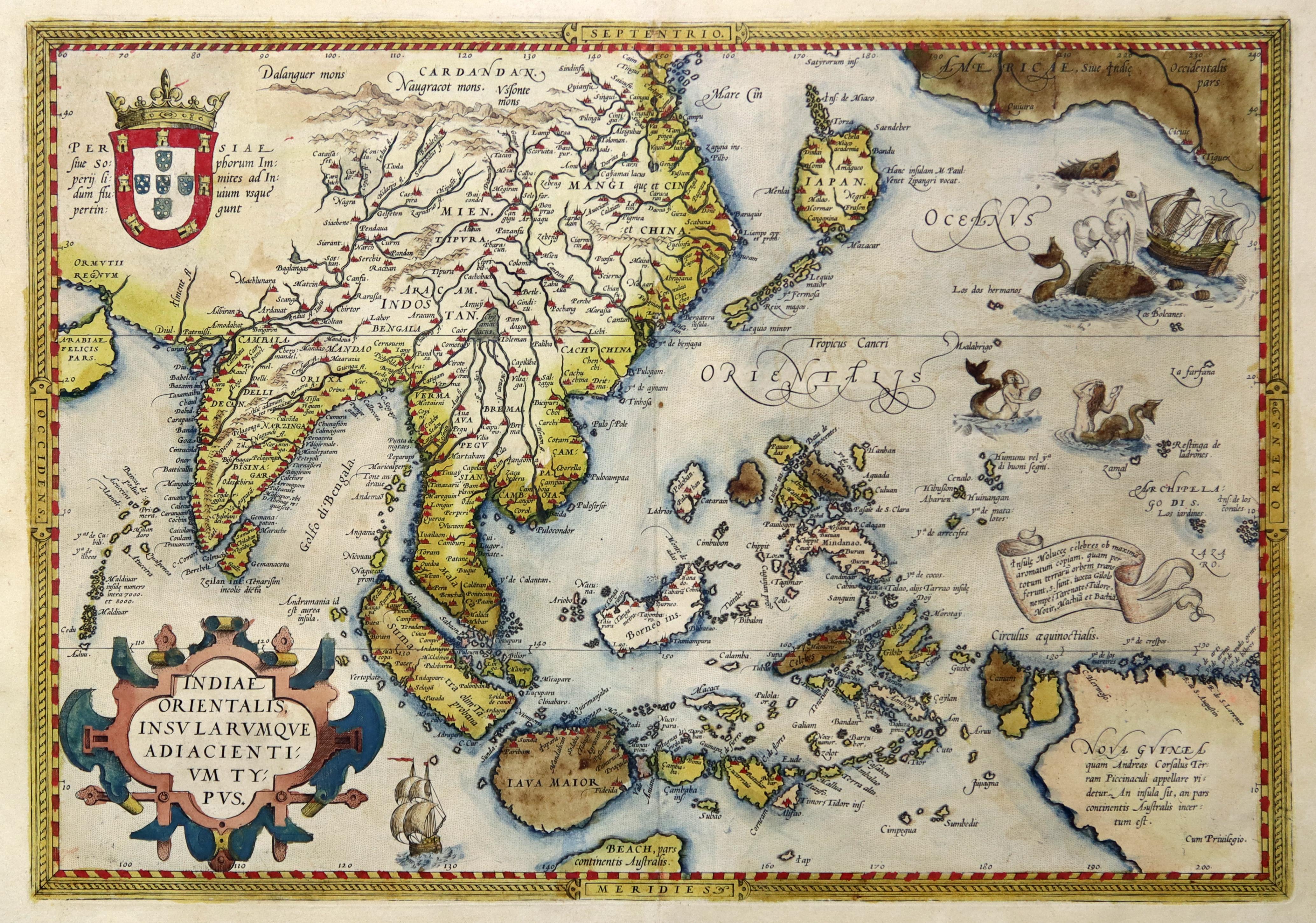 "Kst.- Karte, aus Ortelius, ""Indiae orientalis, insvlarvmqve: Indien - Südostasien"