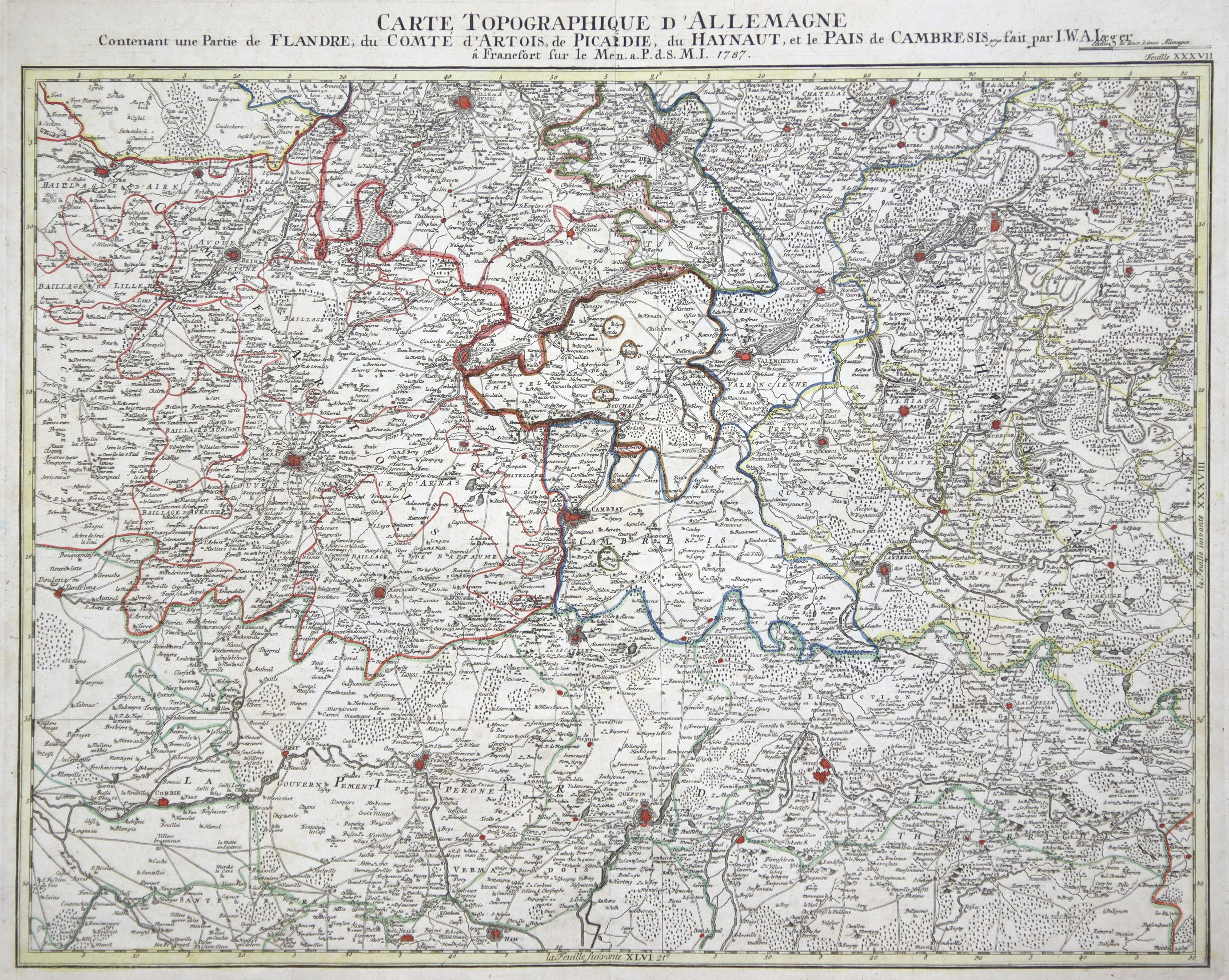 """Kst.- Karte, b. I.W. Iaeger, """"Carte Topographique: Artois:"""