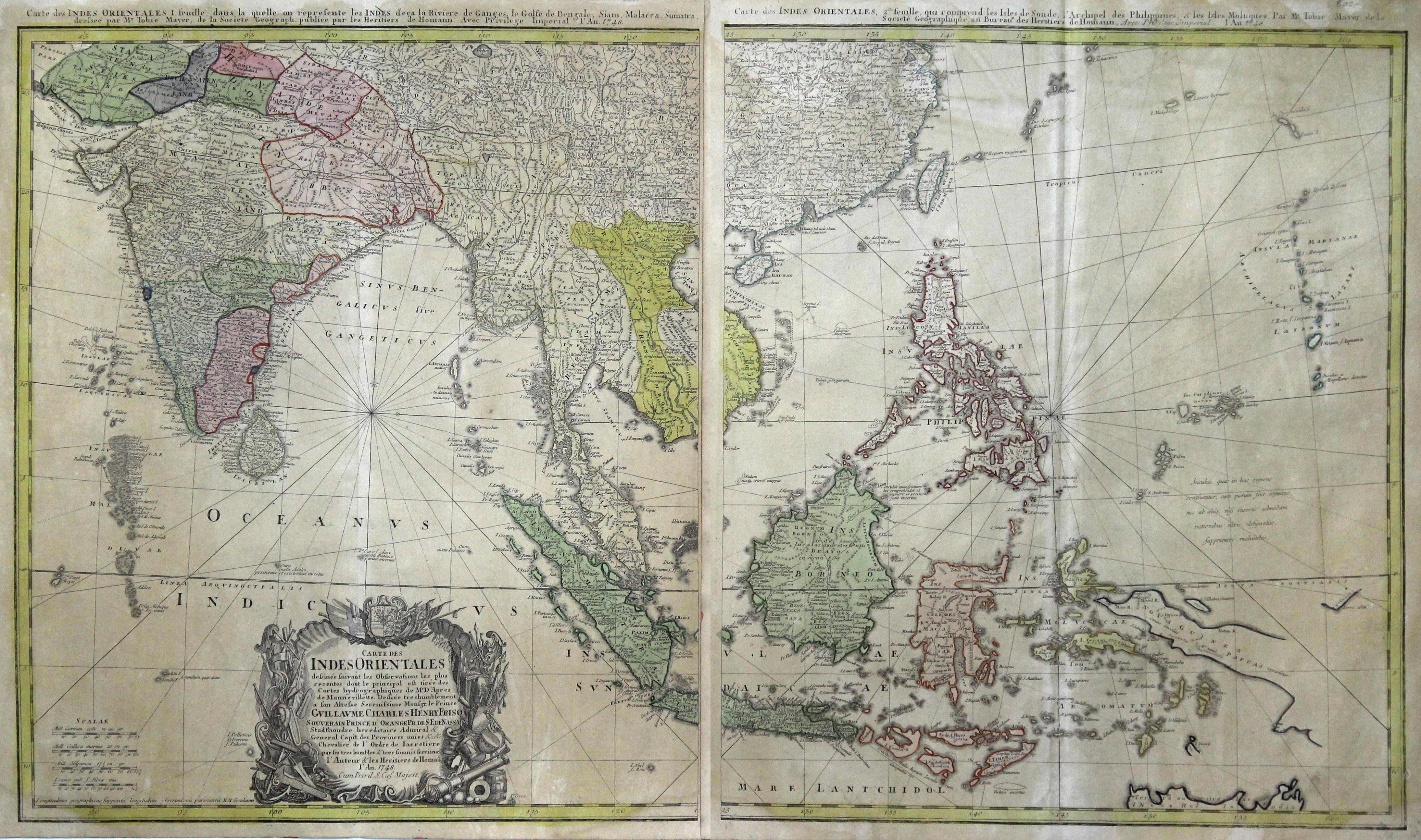 Kst.- Karte, v. 2 Platten gedruckt v.: Indien - Südostasien
