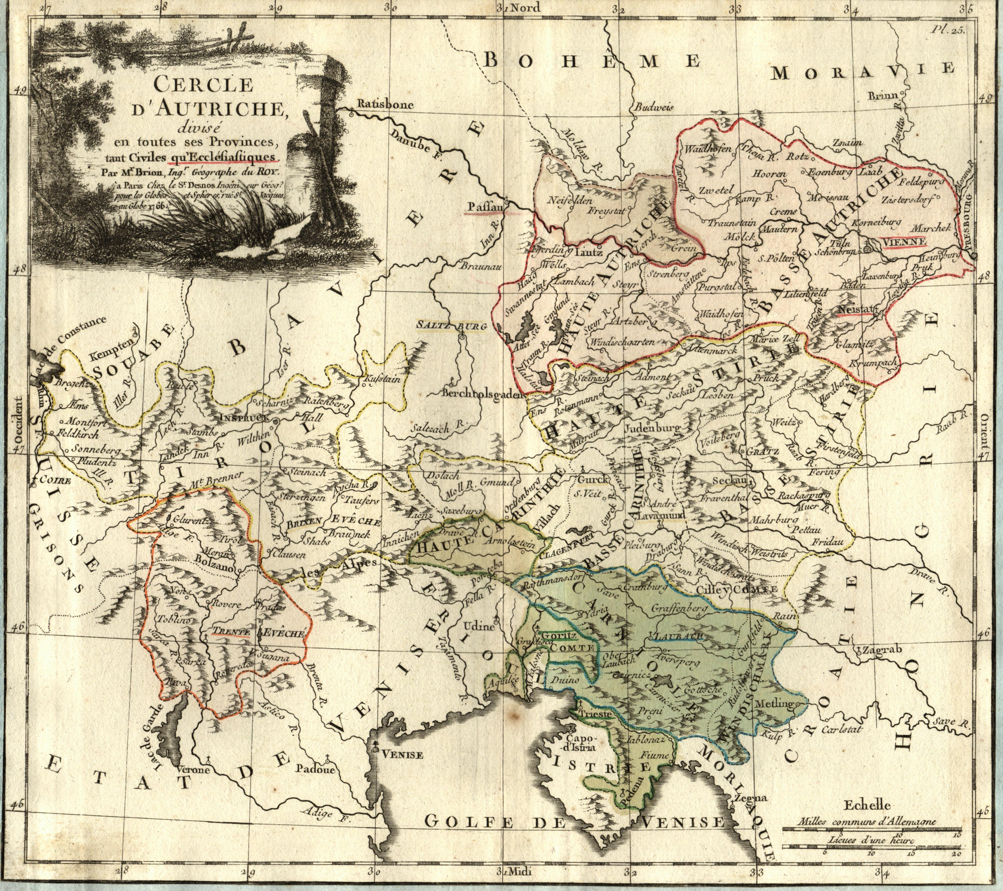 """Kst.- Karte, b. Brion, """"Cercle D'Autriche divise: Österreichischer Kreis:"""