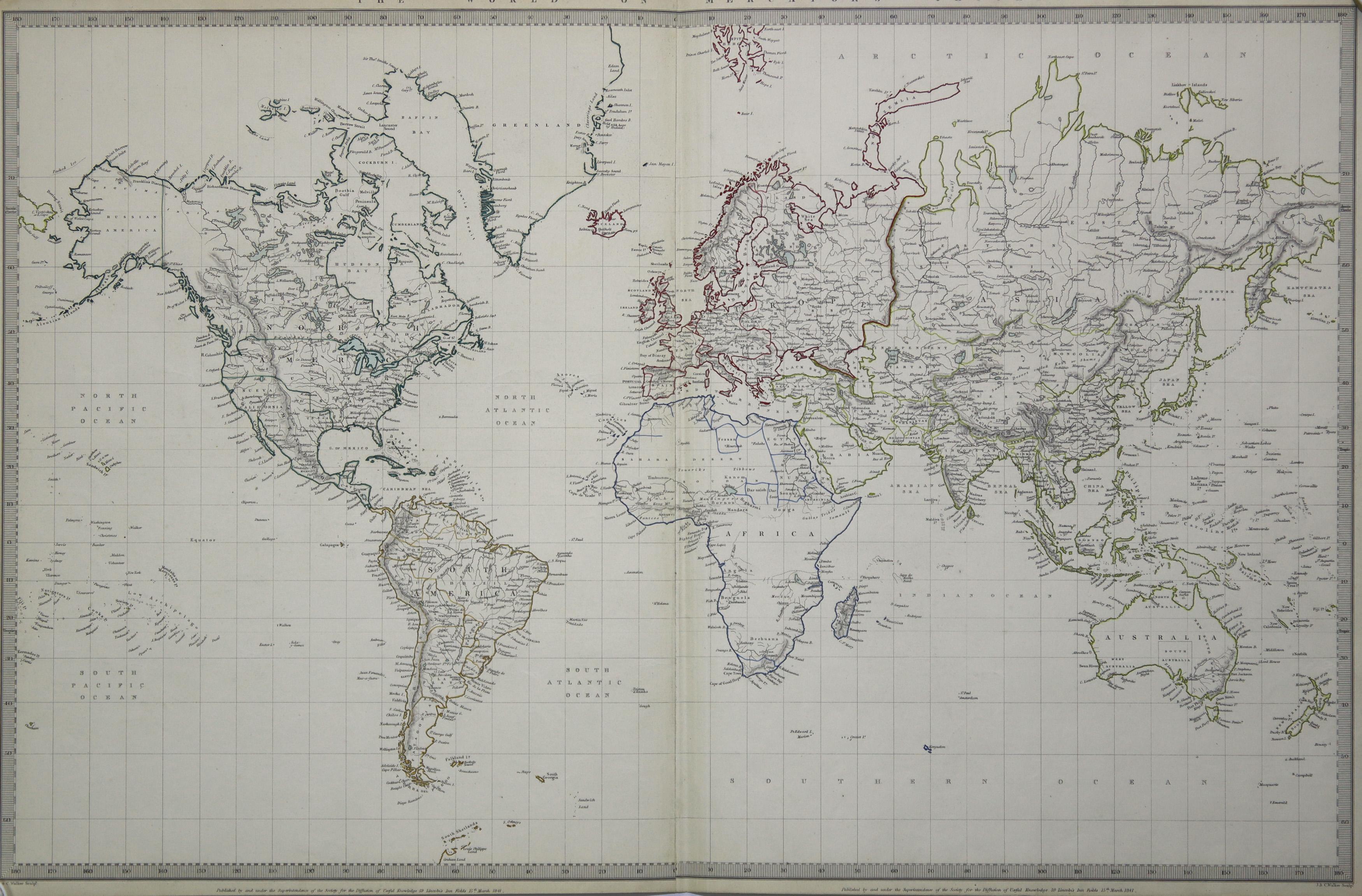 Stst.- Karte, v. 2 Platten v. J.&C: Weltkarte ( World