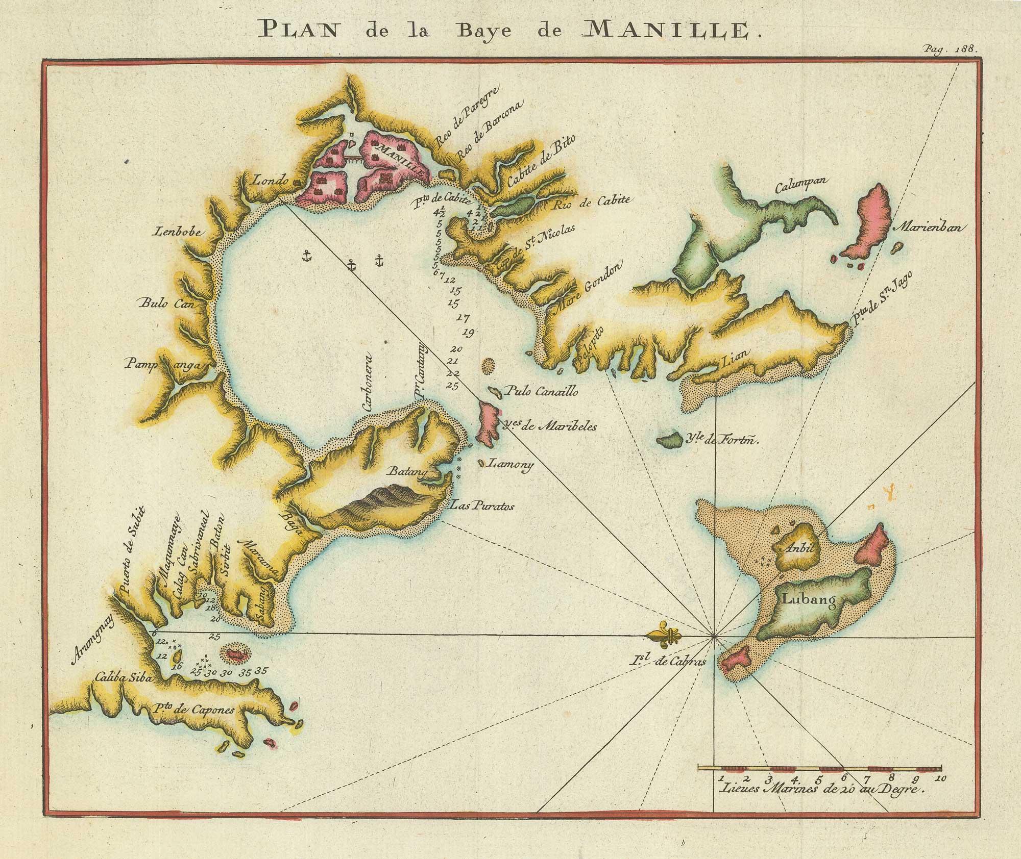 Plan de la Baye de Manille.: ANSON, George.