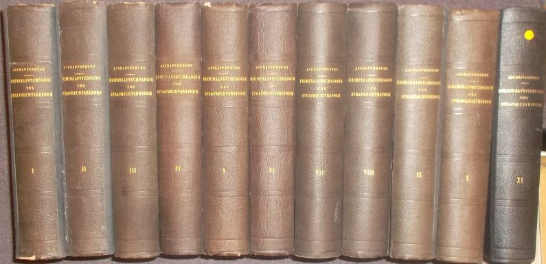 Monatsschrift für Kriminalpsychologie und Strafrechtsreform (11 Jahrgänge): Aschaffenburg, Gustav: