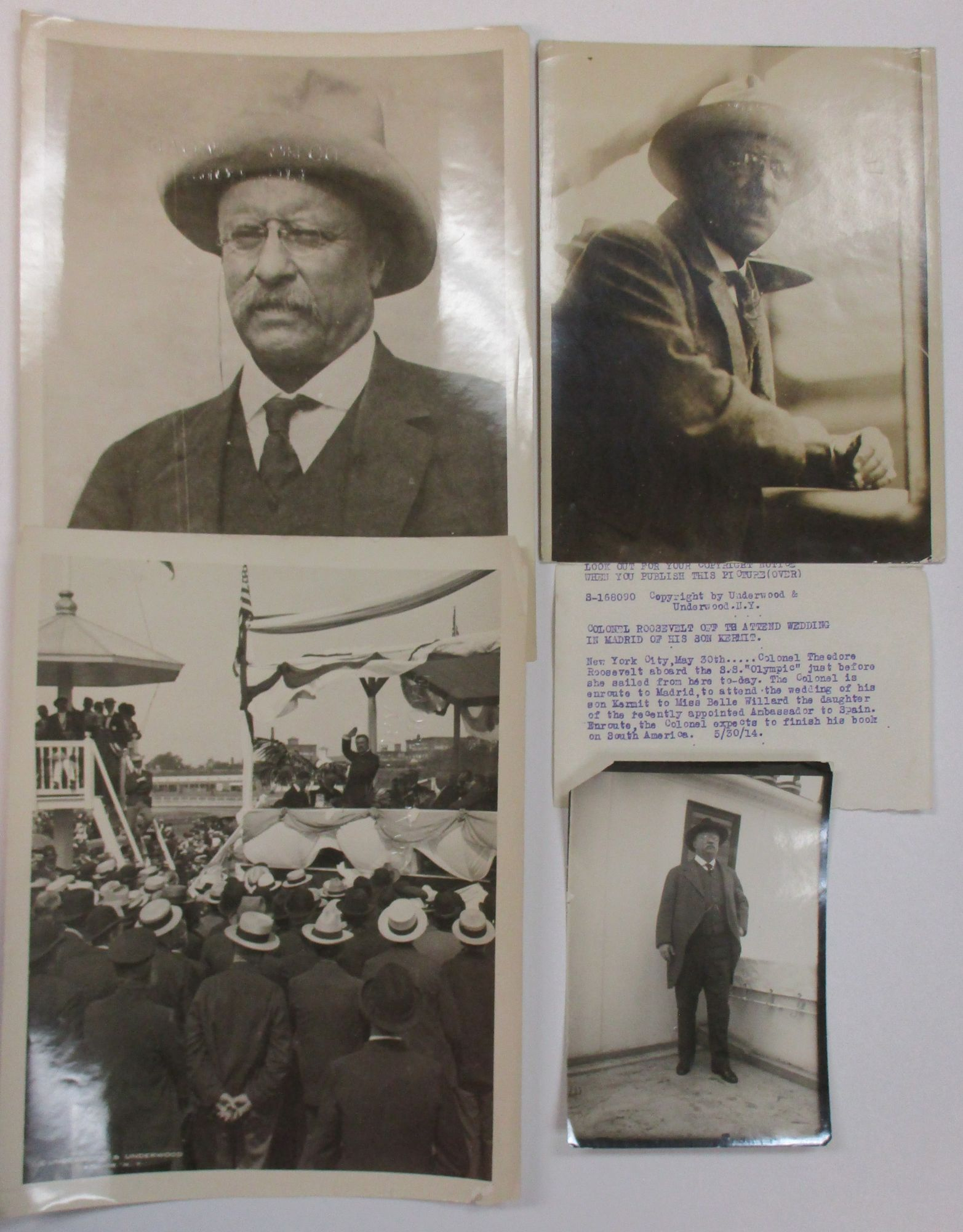 ARCHIVE OF THIRTEEN PRESS PHOTOGRAPHS OF THEODORE: Roosevelt, Theodore
