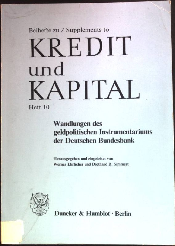 Wandlungen des geldpolitischen Instrumentariums der Deutschen Bundesbank.: Ehrlicher, Werner: