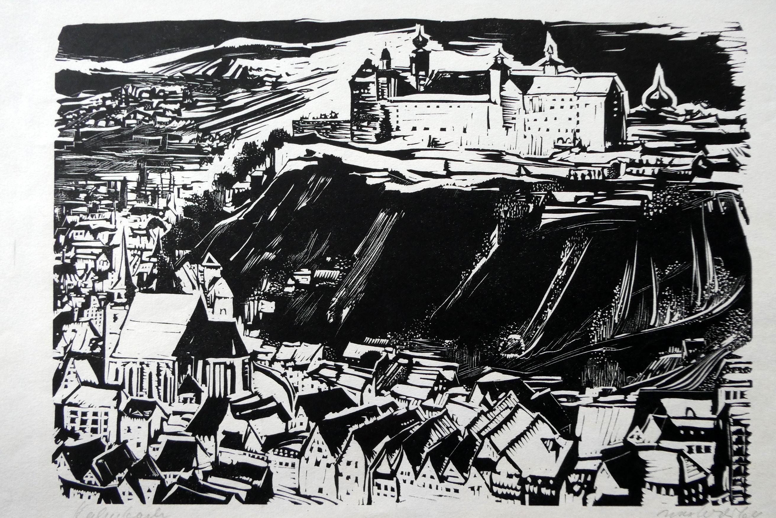 Kulmbach mit der Plassenburg. Original-Holzschnitt von Max: Wild, Max: