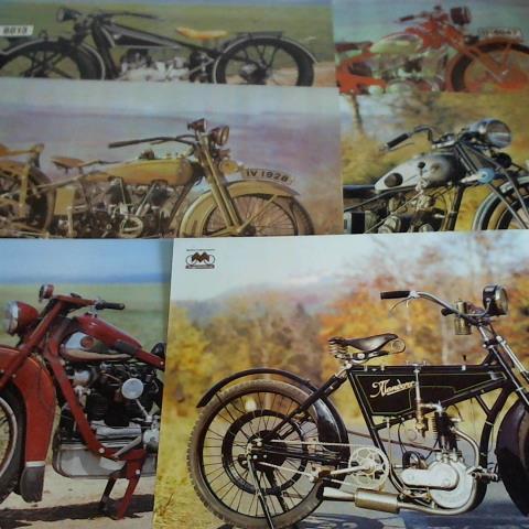 6 Poster mit verschiedenen Motorrädern: DEWAG Karl-Marx-Stadt /
