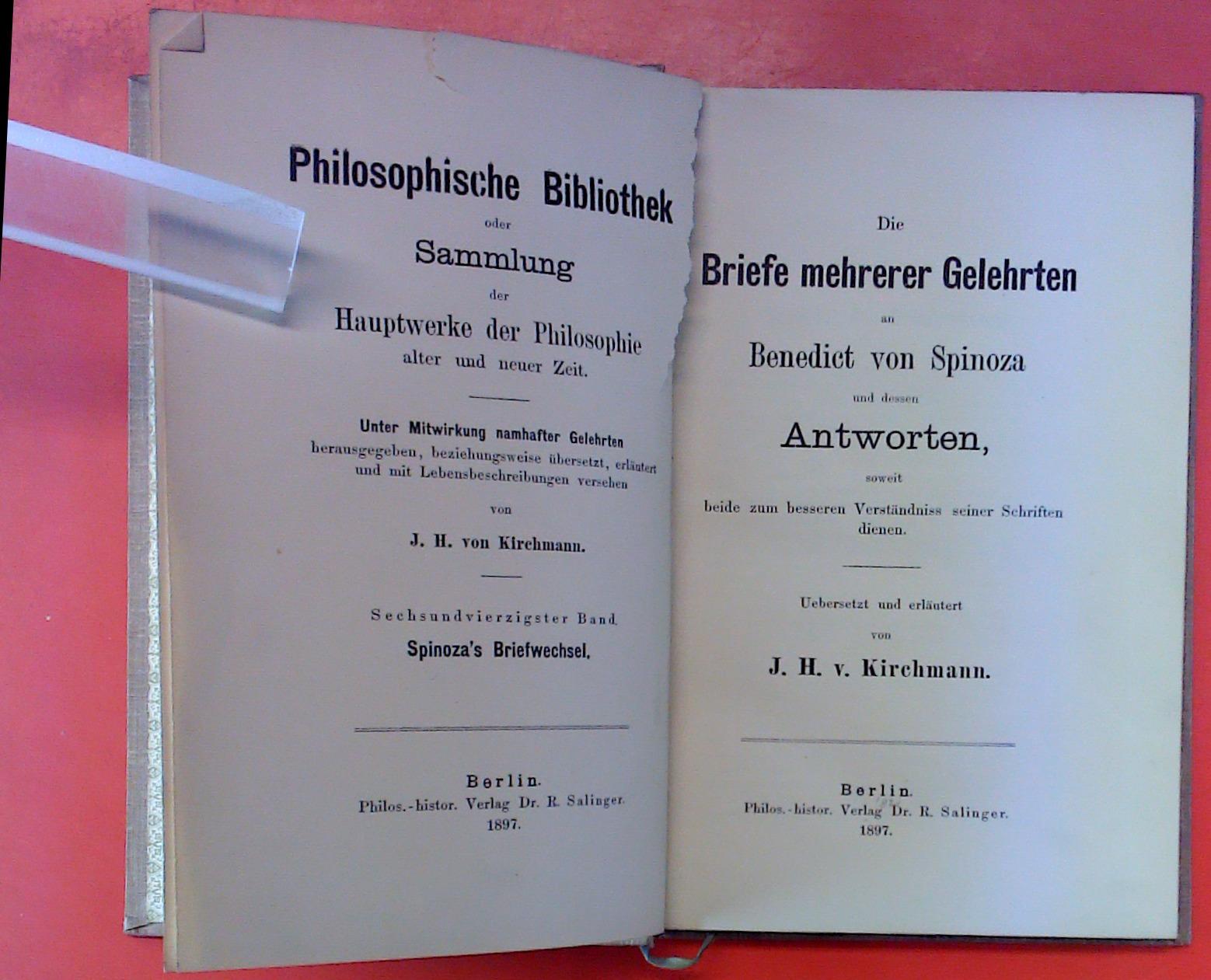 Die Briefe mehrerer Gelehrten an Benedict von: J. H. von