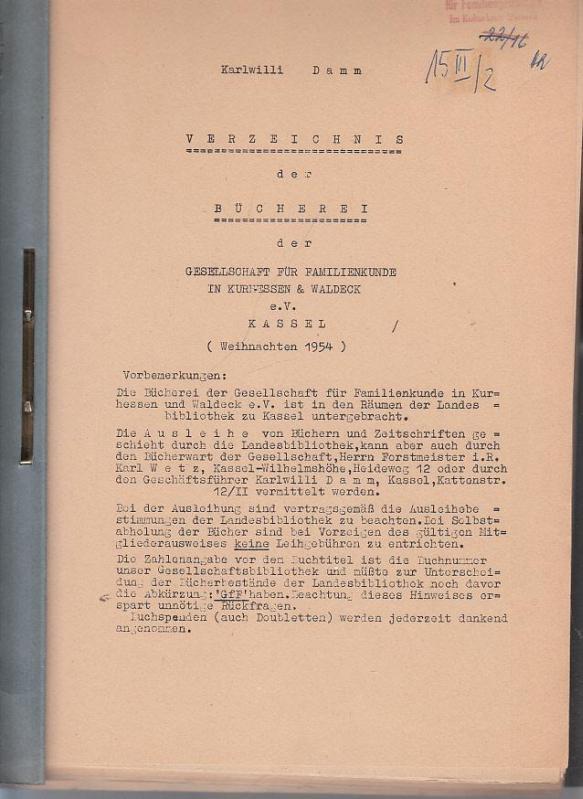 Verzeichnis der Bücherei der Gesellschaft für Familienkunde: Damm, Karlwilli -