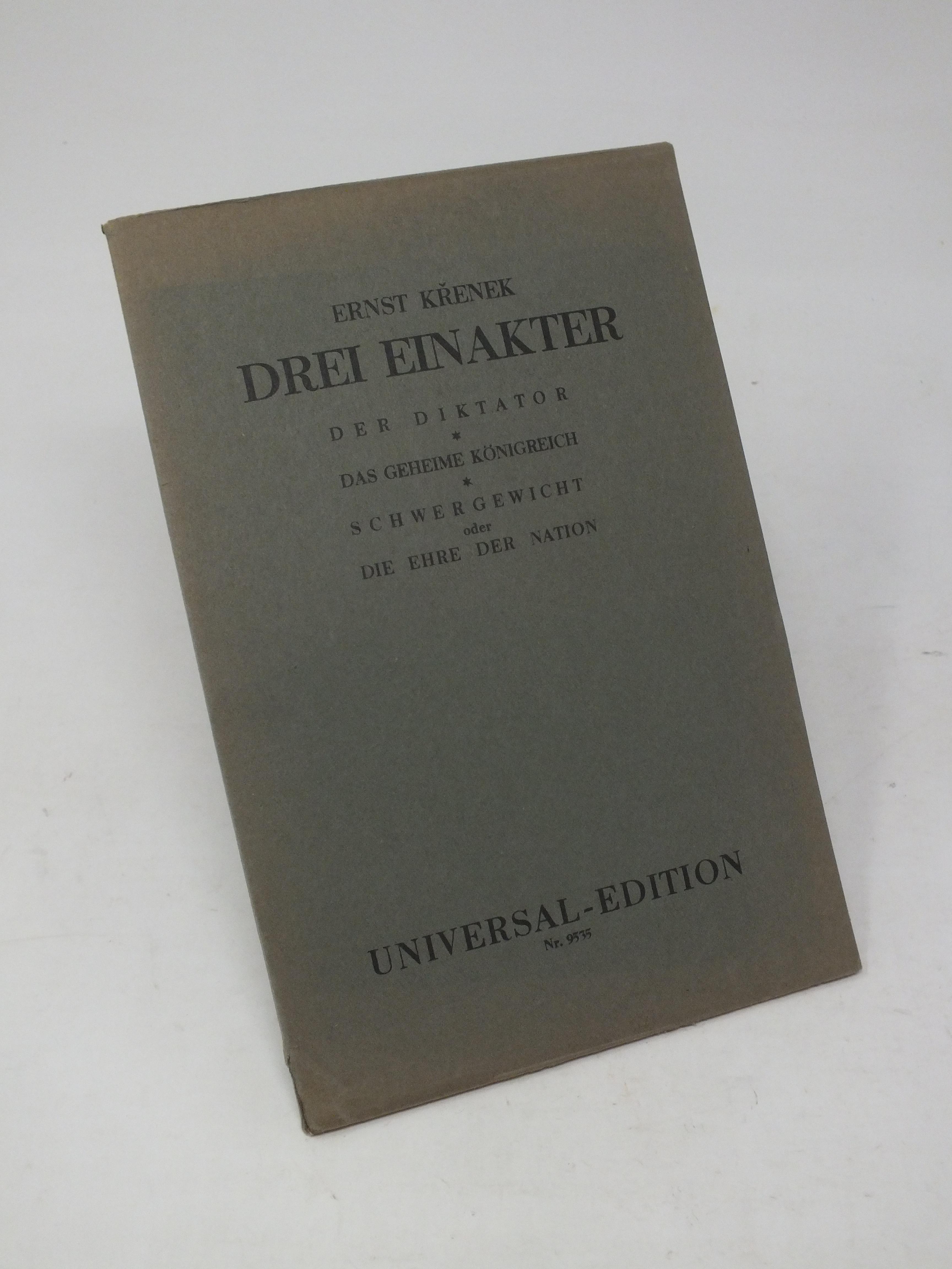 Drei Einakter - Der Diktator, Das geheime: Krenek, Ernst
