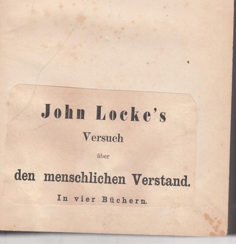 John Locke s Versuch über den menschlichen: Locke, John -