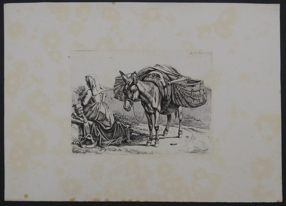 Die Italienerin bei dem Esel.: Klein, Johann Adam.