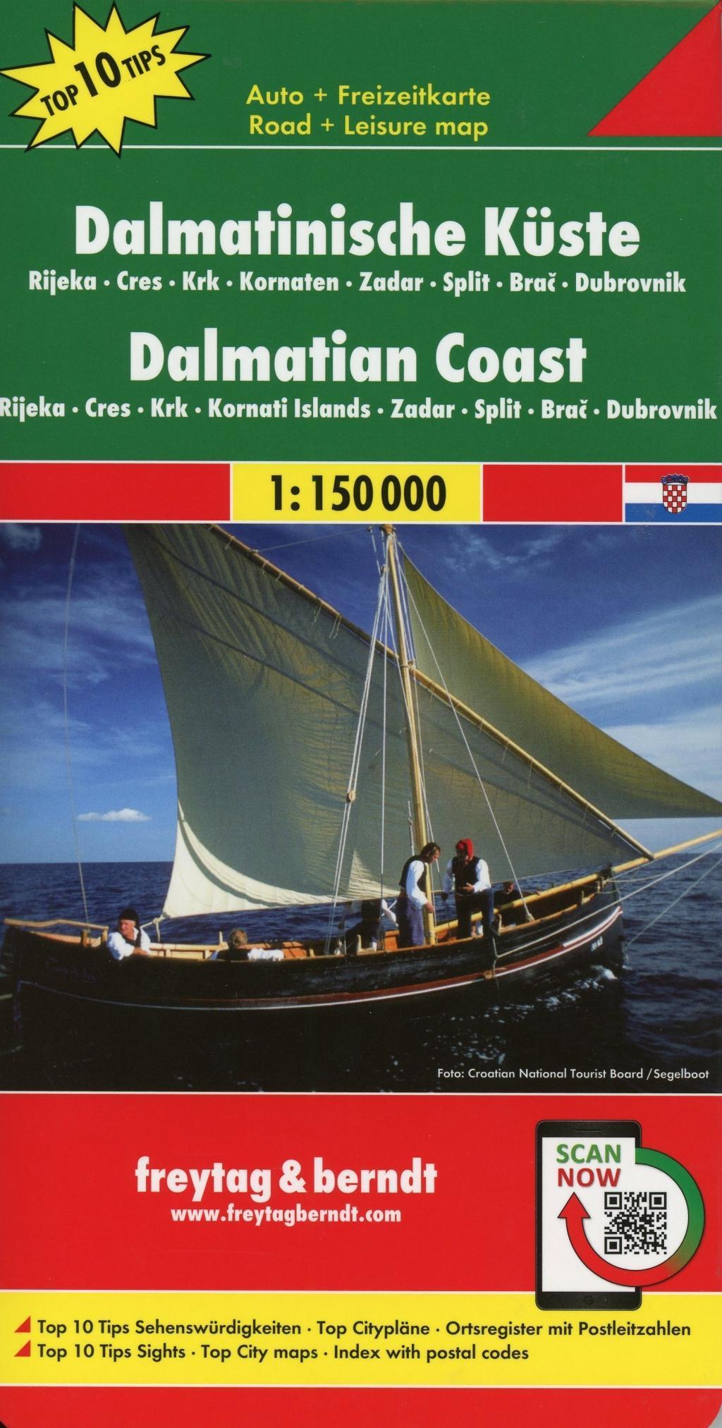 Dalmatinische Küste, Rijeka - Cres - Krk - Kornaten - Zadar - Split - Brac - Dubrovnik, Autokarte 1:150.000 | Top 10 Tips