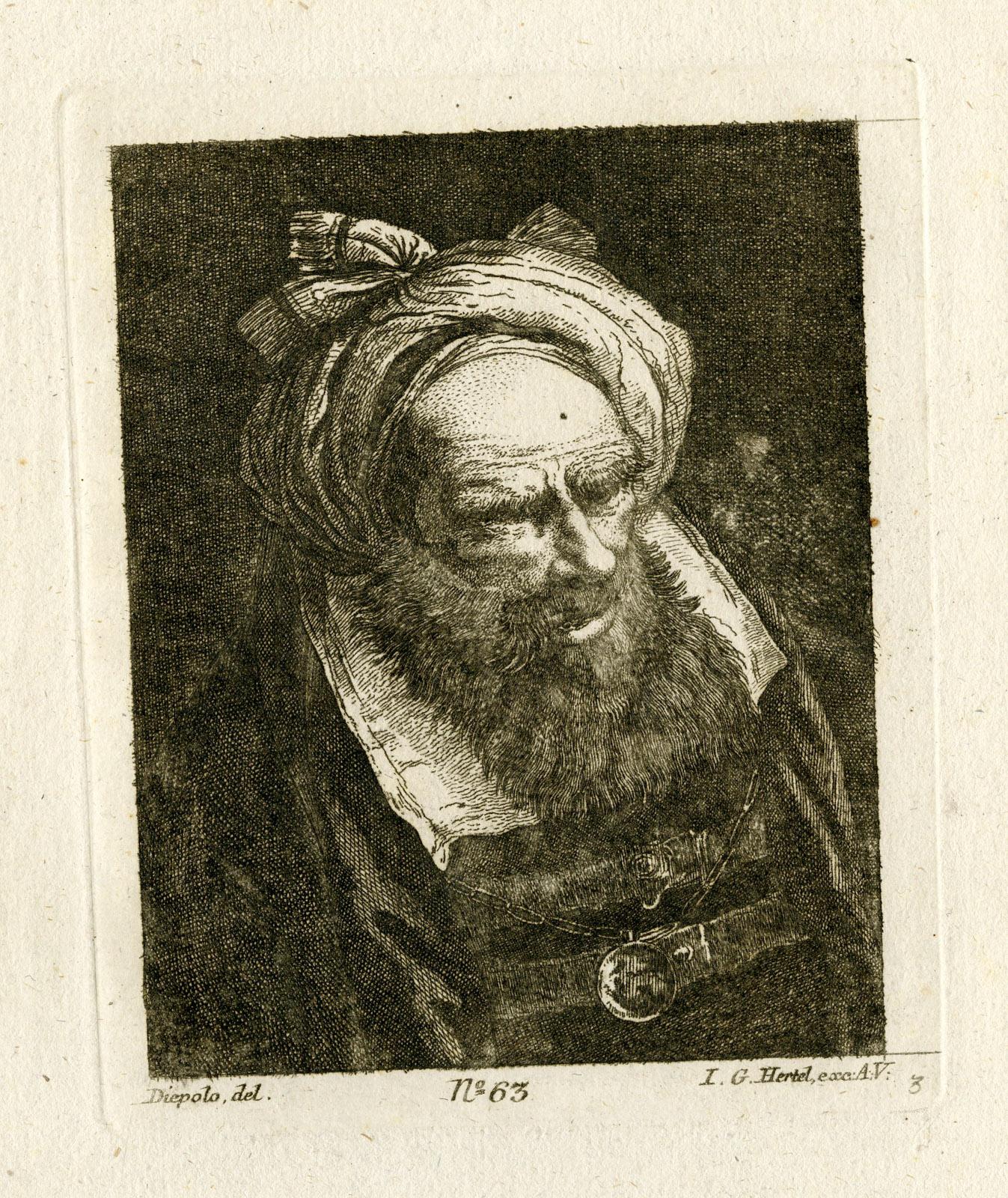 Antique Master Print-BEARDED MAN WITH TURBAN-Tiepolo-Hertel-c.1760: Johann Georg Hertel