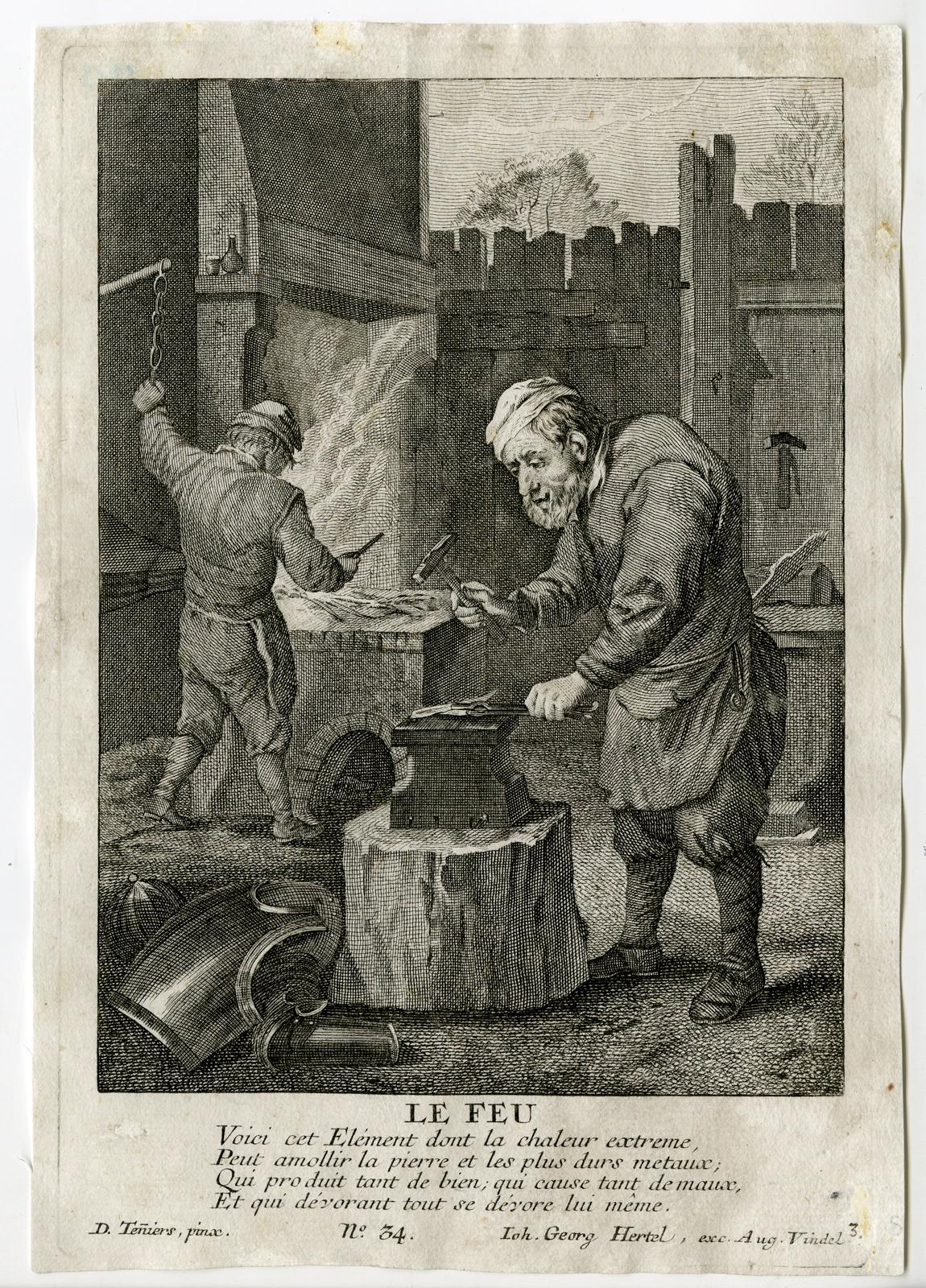 Antique Master Print-BLACKSMITH-SMITHY-FIRE ELEMENT-Teniers II-Hertel-c.1750: Johann Georg Hertel