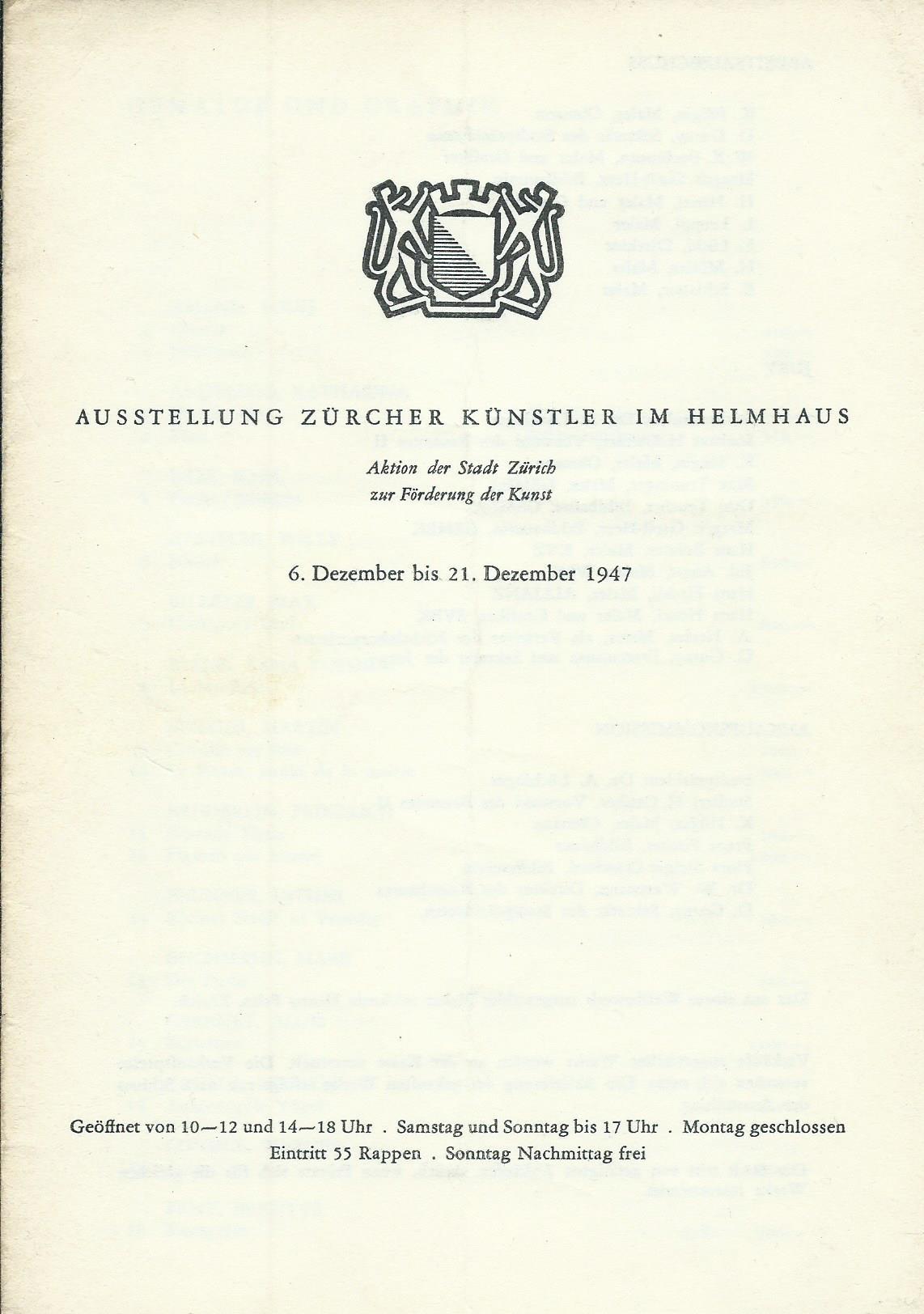 Ausstellung Zürcher Künstler im Helmhaus, 6. Dezember: Stadt Zürich, Hrsg.
