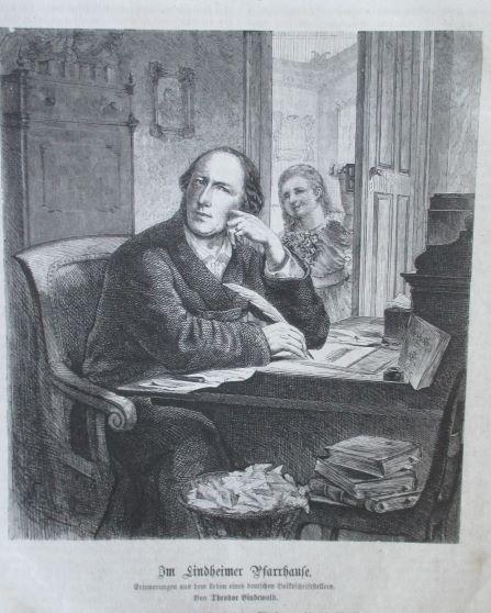 Porträt. Kniestück am Schreibtisch sitzend. Holzstich aus: Oeser, Rudolf (*1807