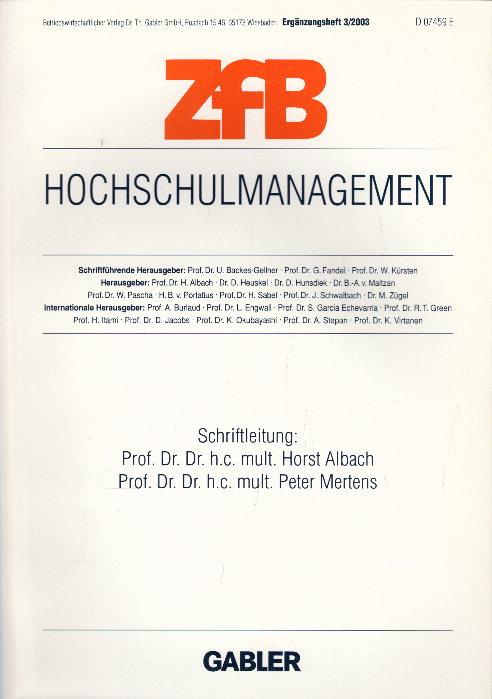 Hochschulmanagement (ZfB Special Issue, Band 0): Albach, Horst und
