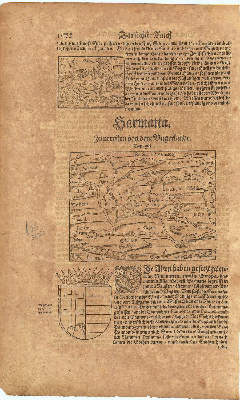 Sarmatia. Zum ersten von dem Ungerlandt.: MUNSTER, Sebastian].