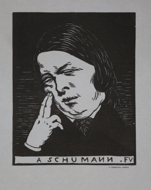 Bildnis des Komponisten Robert Schumann. Holzschnitt von: Vallotton, Felix (1865-1925):