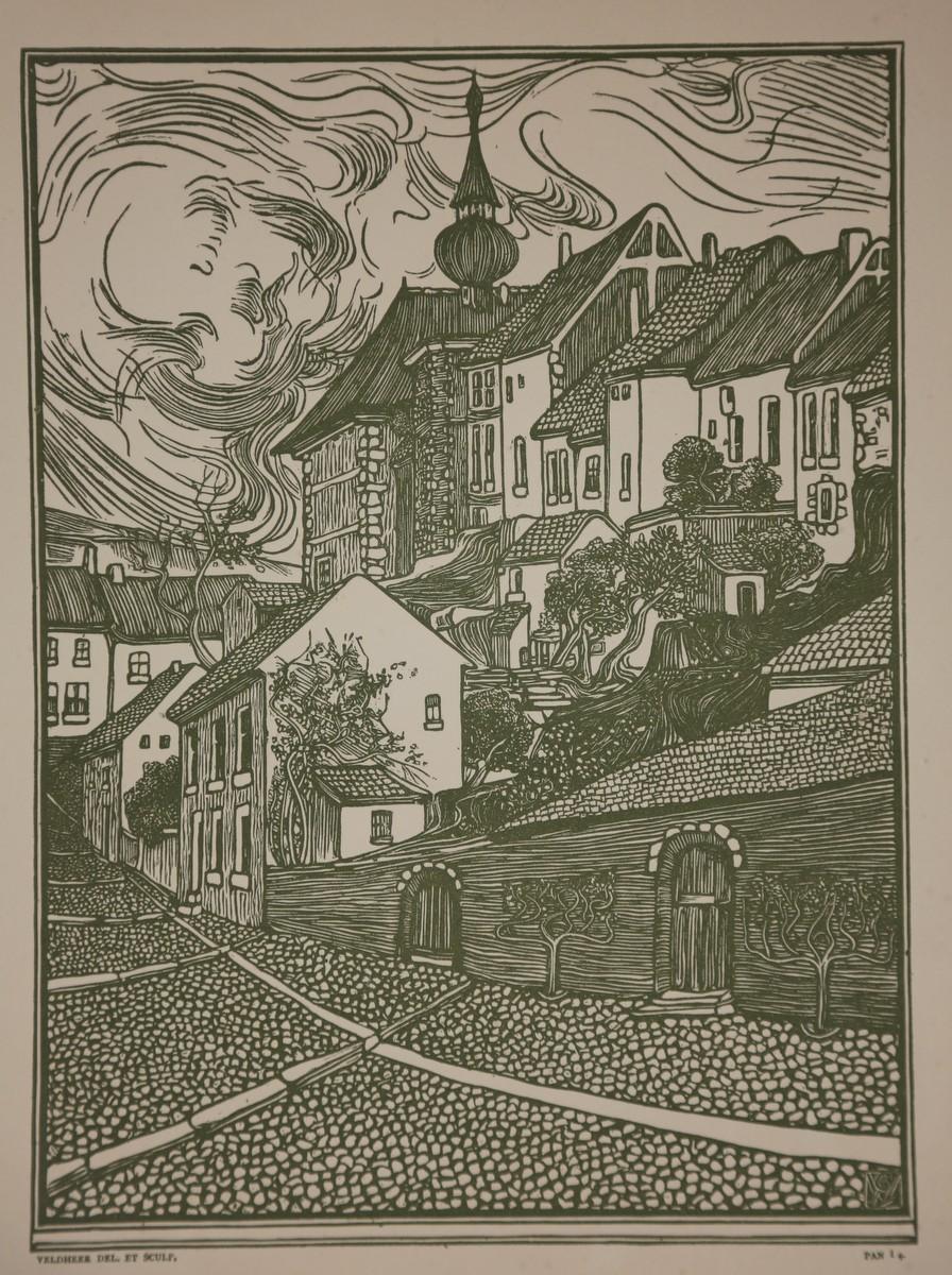 Ansicht einer Kleinstadt. Grünlich getönter Holzschnitt aus: Veldheer, Jacob Gerard