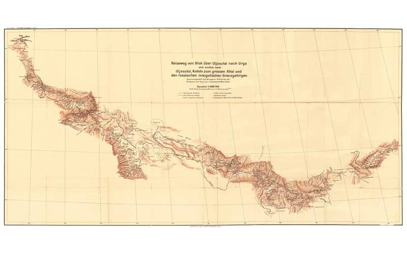 Weideplätze der Mongolen -Übersichtskarten: Consten, Hermann