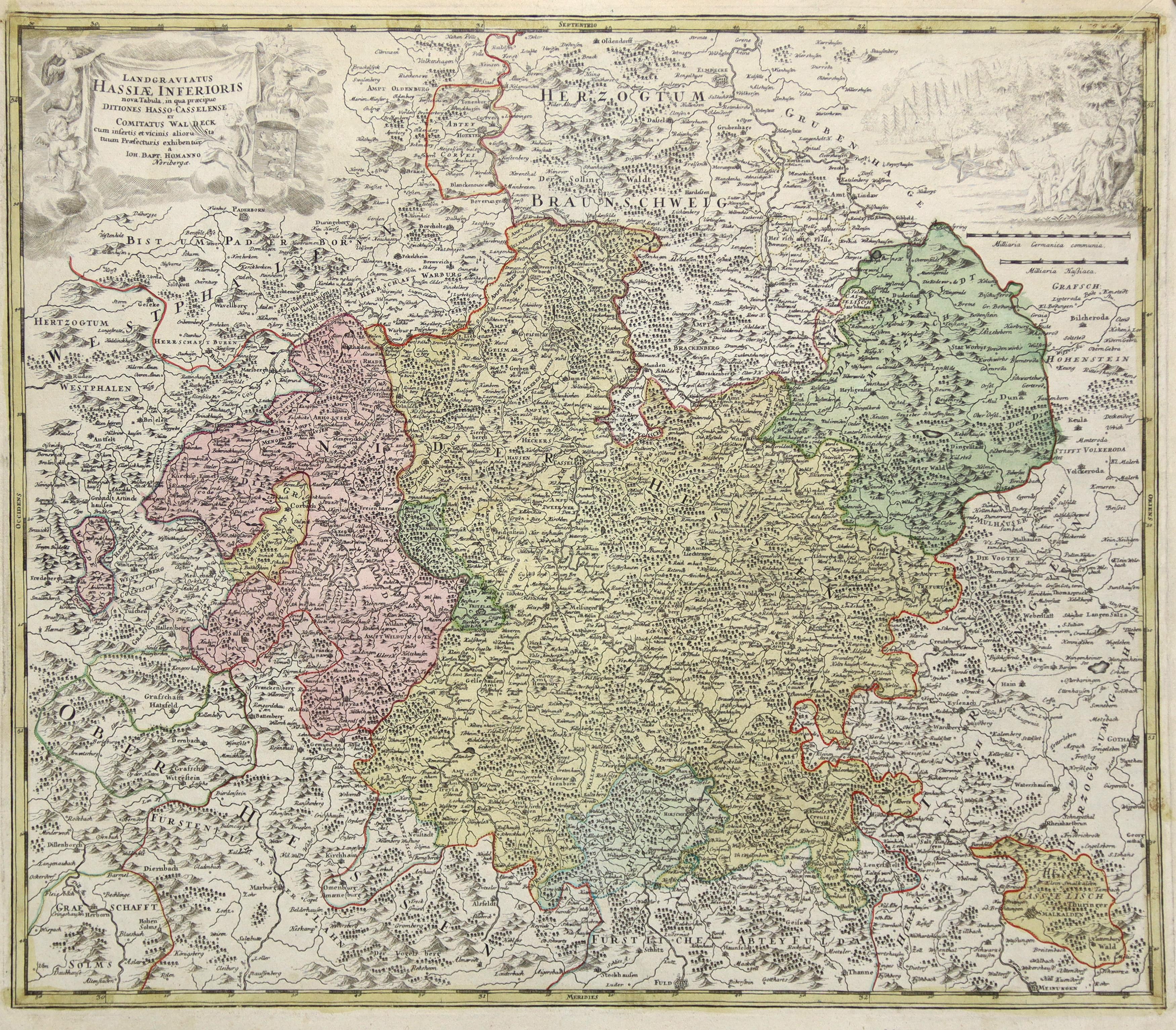 """Kst.- Karte, b. J. B. Homann, """"Landgraviatus: Nordhessen - Waldeck:"""